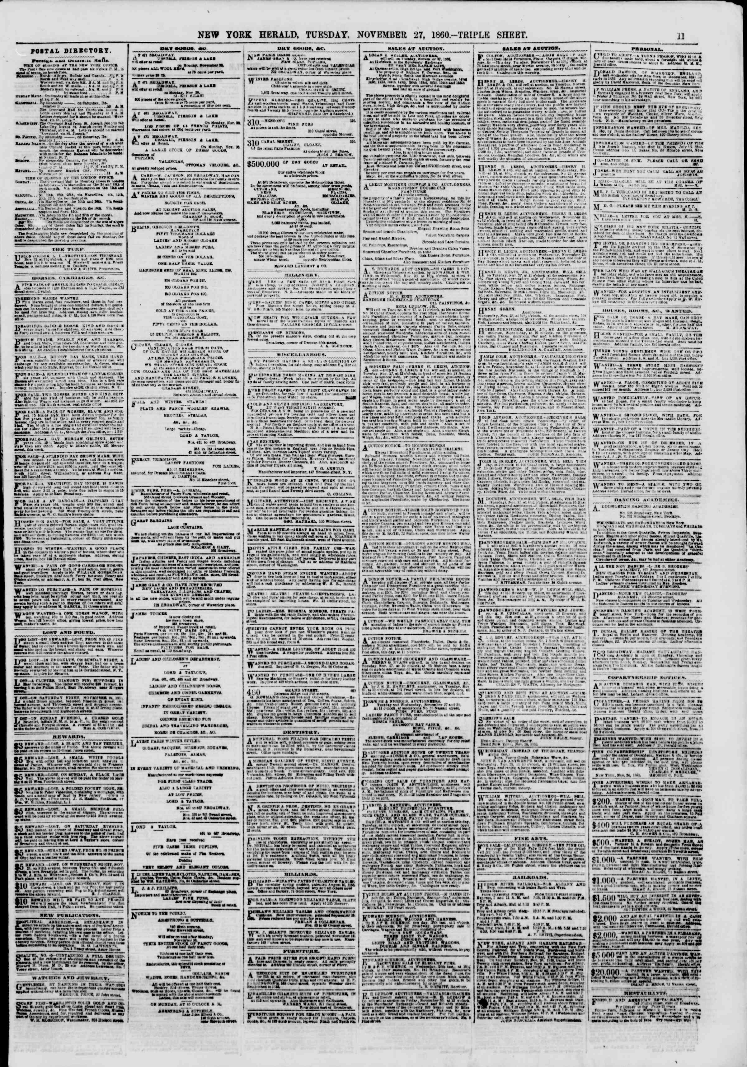 Newspaper of The New York Herald dated November 27, 1860 Page 11