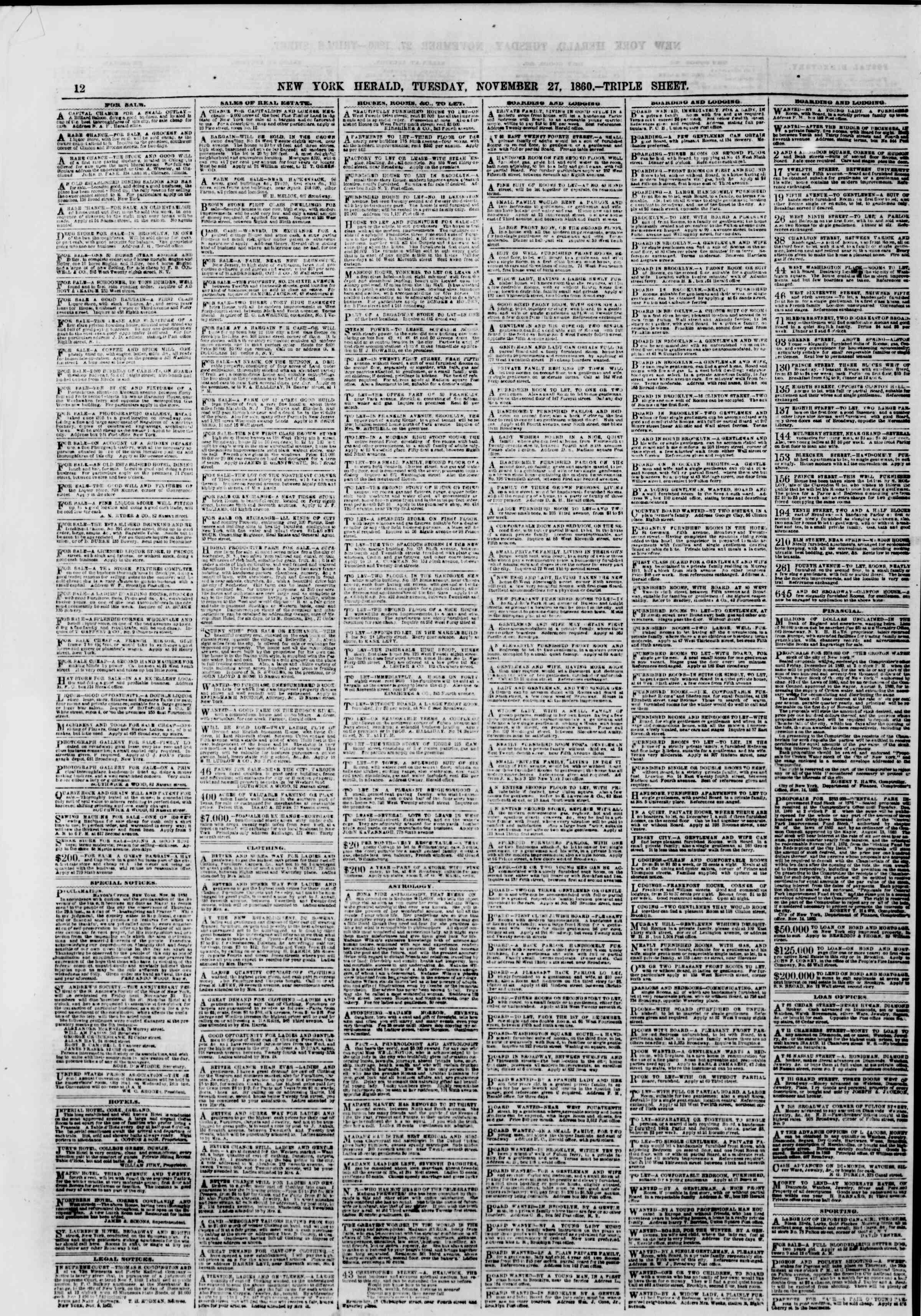Newspaper of The New York Herald dated November 27, 1860 Page 12