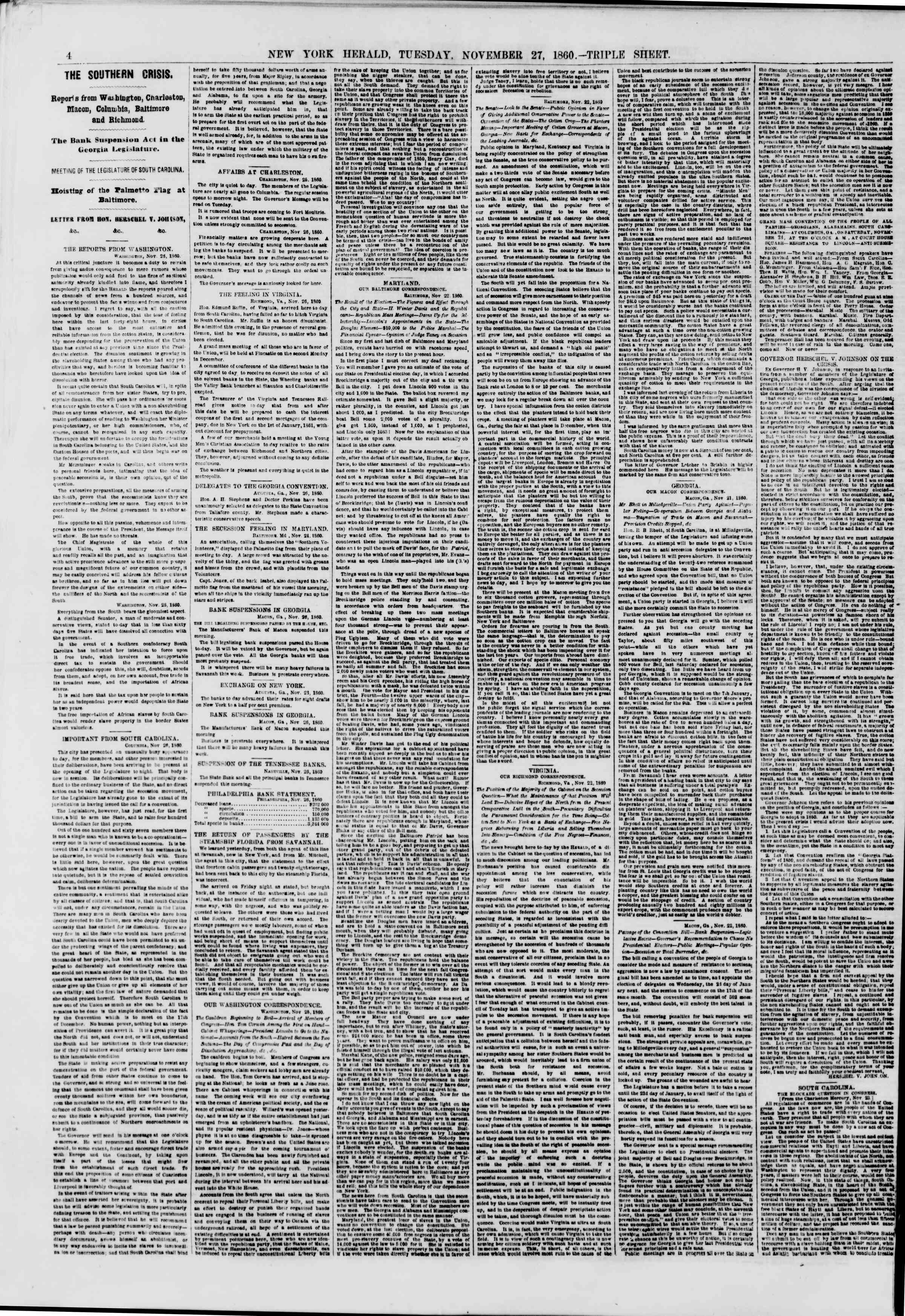 Newspaper of The New York Herald dated November 27, 1860 Page 4