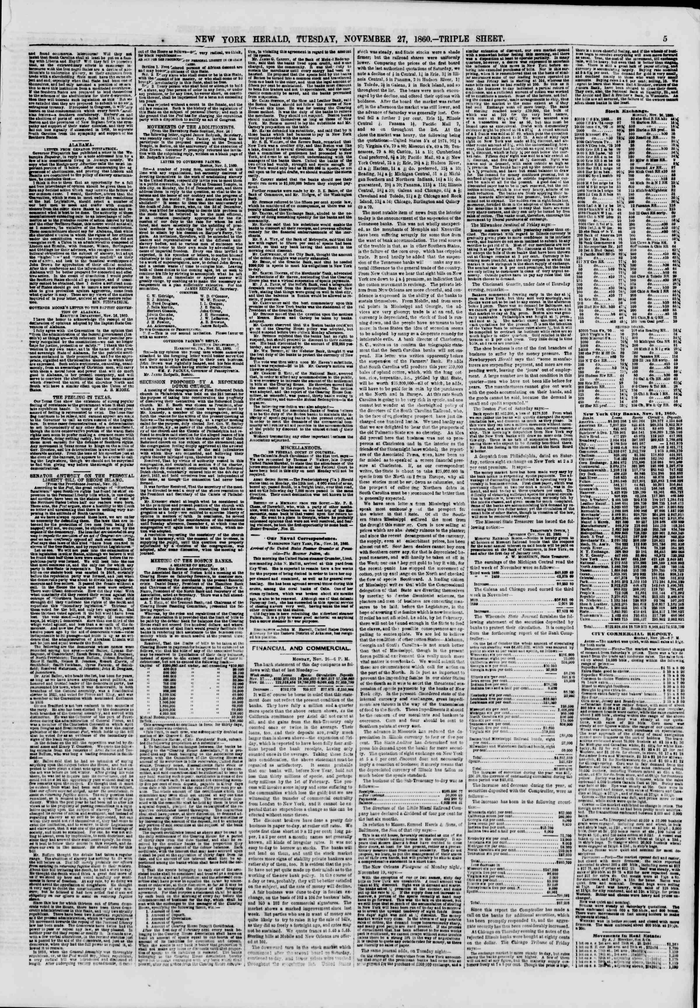 Newspaper of The New York Herald dated November 27, 1860 Page 5