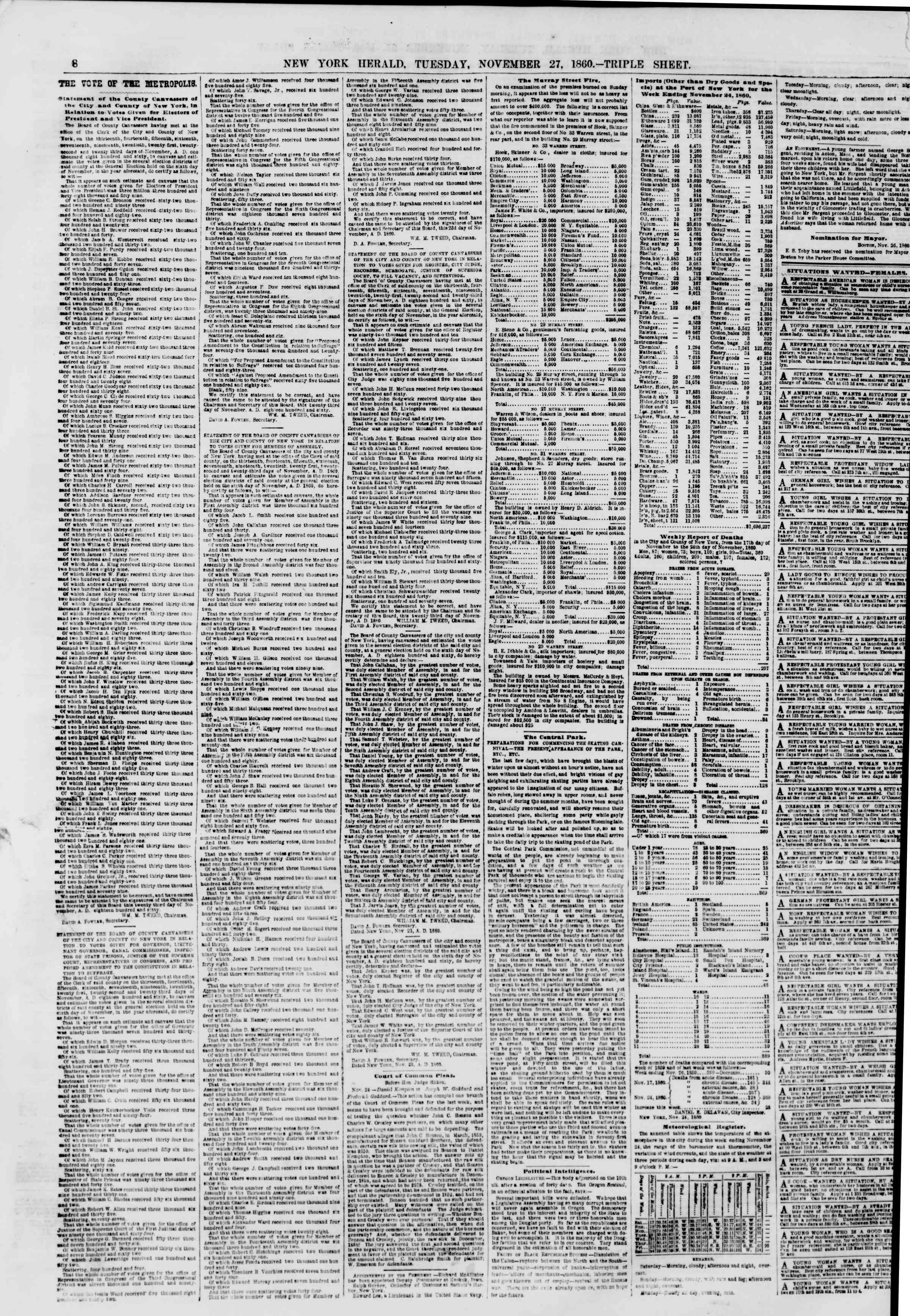 Newspaper of The New York Herald dated November 27, 1860 Page 8