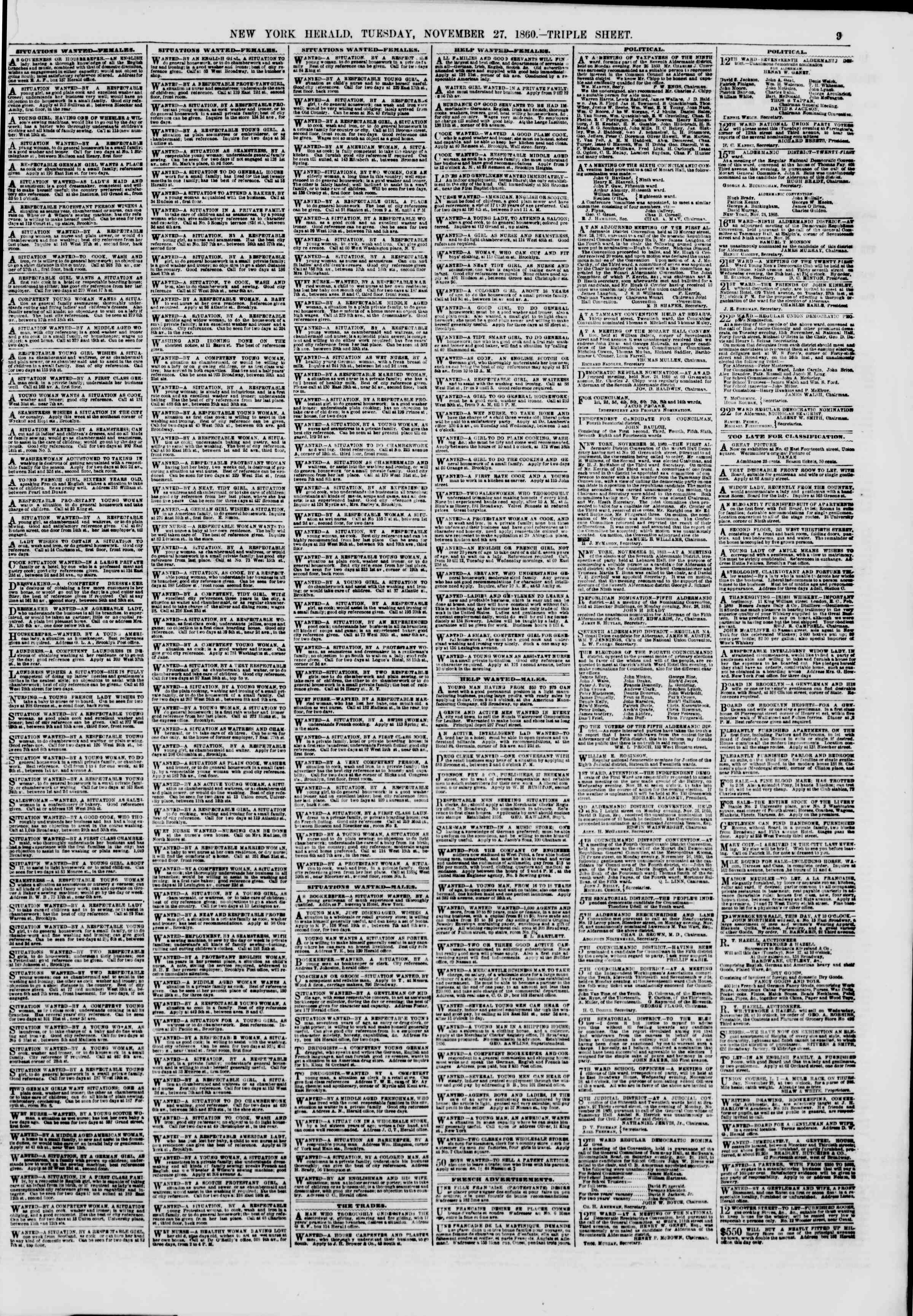 Newspaper of The New York Herald dated November 27, 1860 Page 9