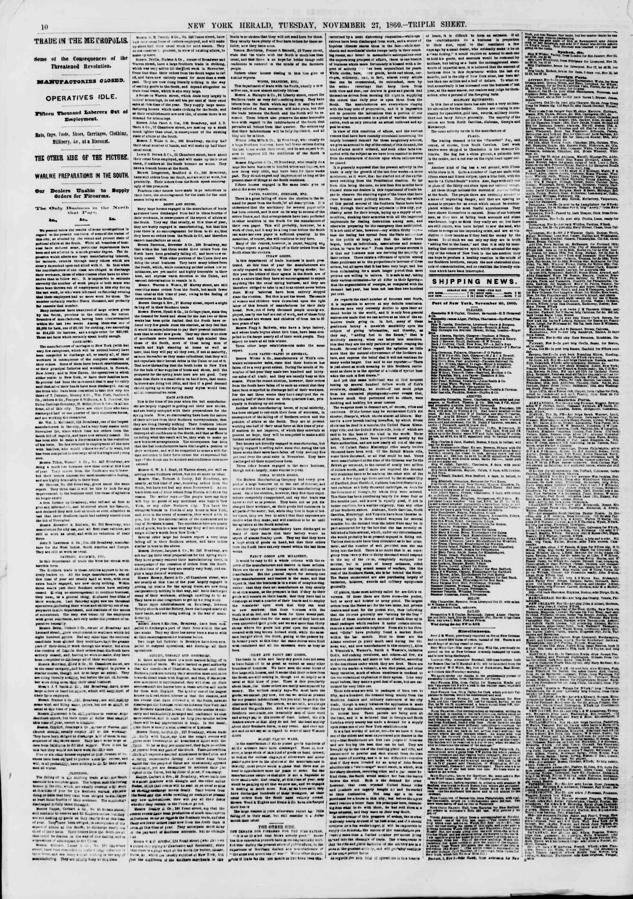 Newspaper of The New York Herald dated November 27, 1860 Page 10