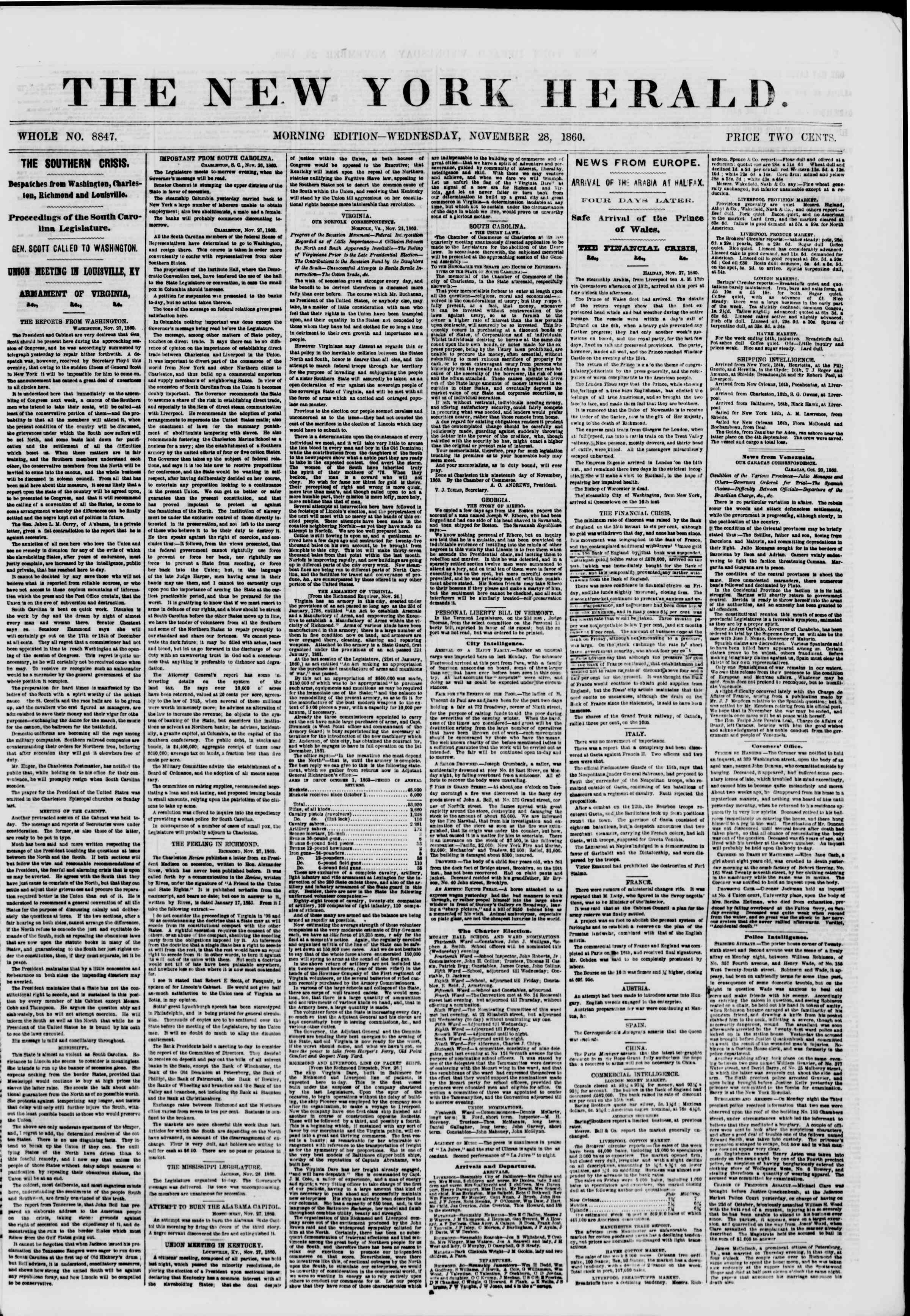 Newspaper of The New York Herald dated November 28, 1860 Page 1