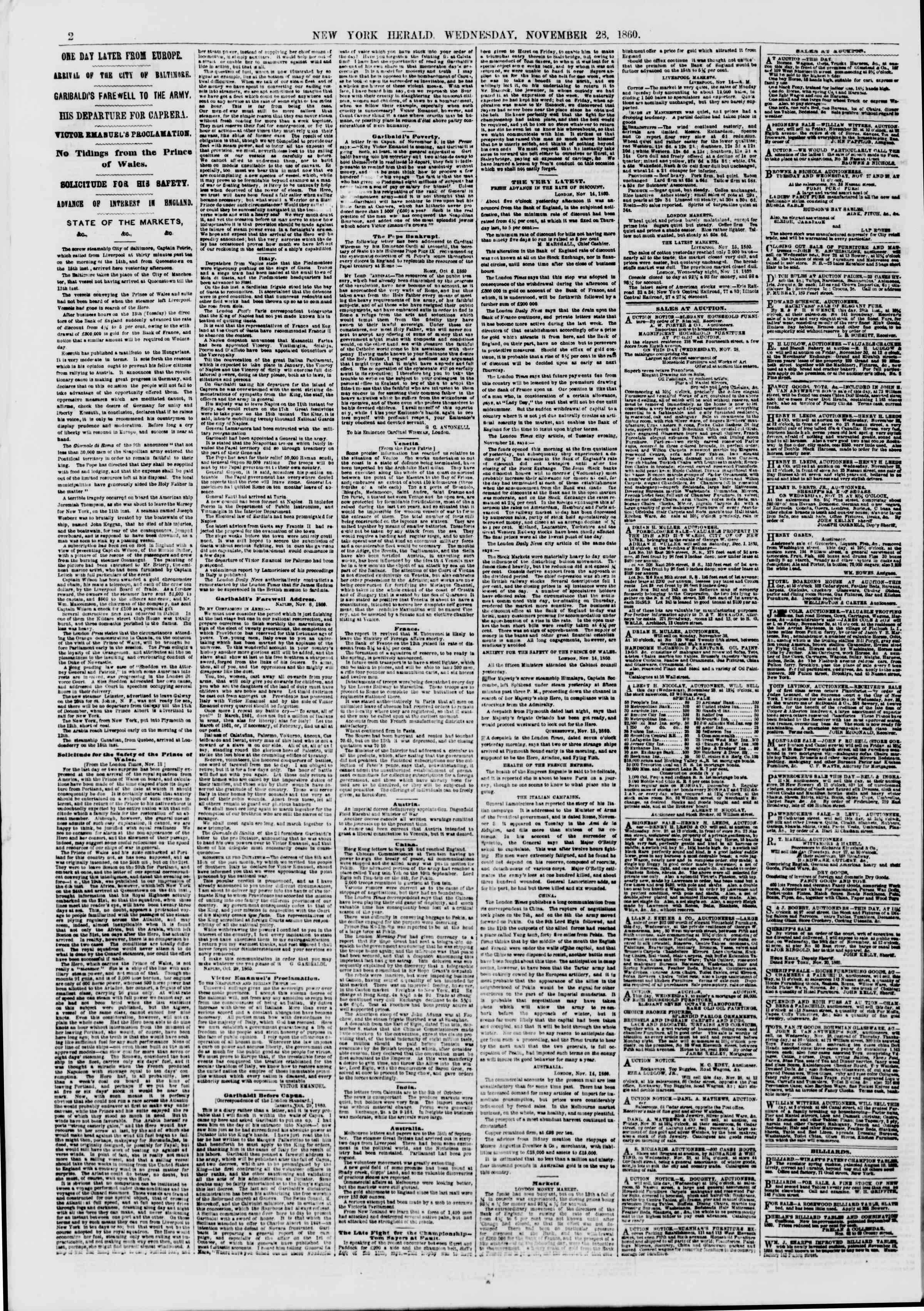 28 Kasım 1860 tarihli The New York Herald Gazetesi Sayfa 2