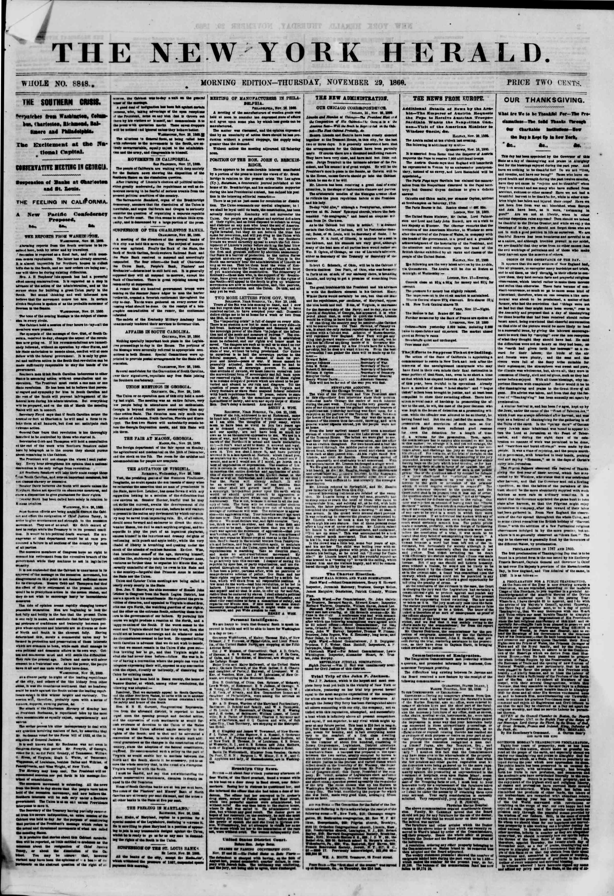 Newspaper of The New York Herald dated November 29, 1860 Page 1