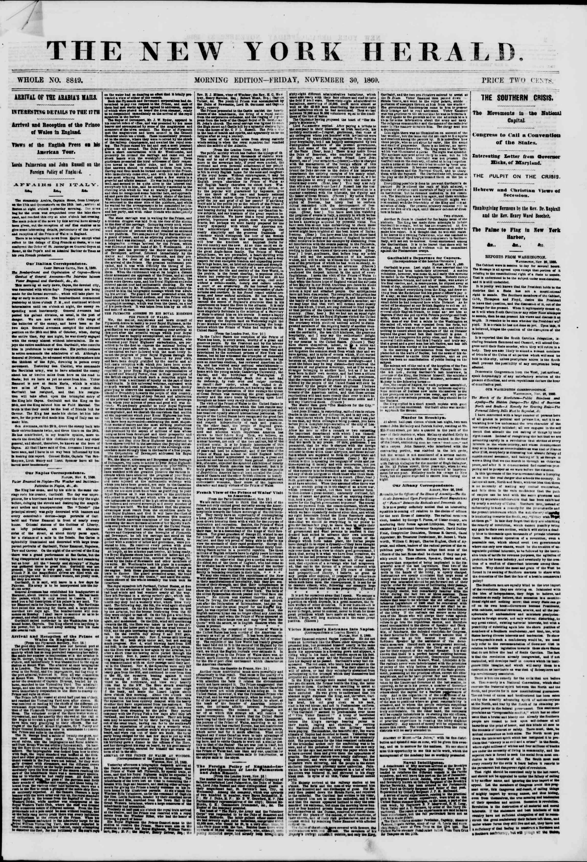 Newspaper of The New York Herald dated November 30, 1860 Page 1