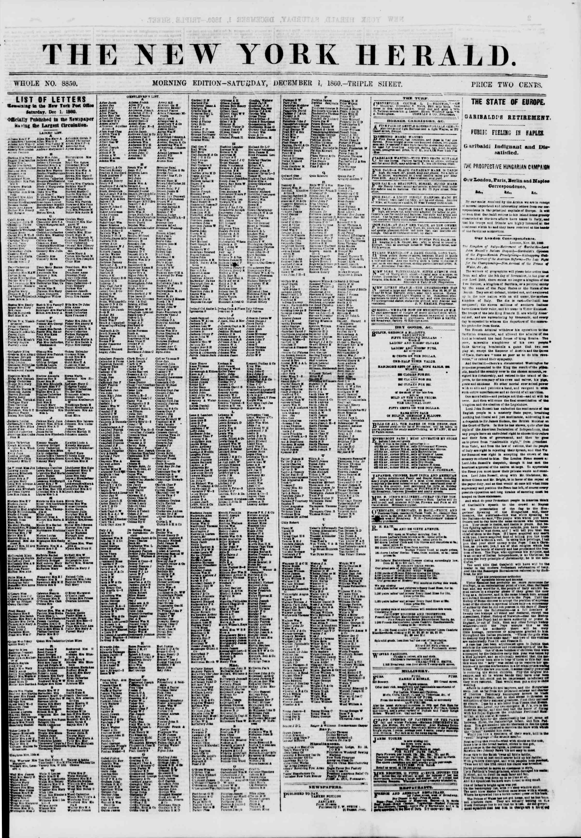 Newspaper of The New York Herald dated December 1, 1860 Page 1