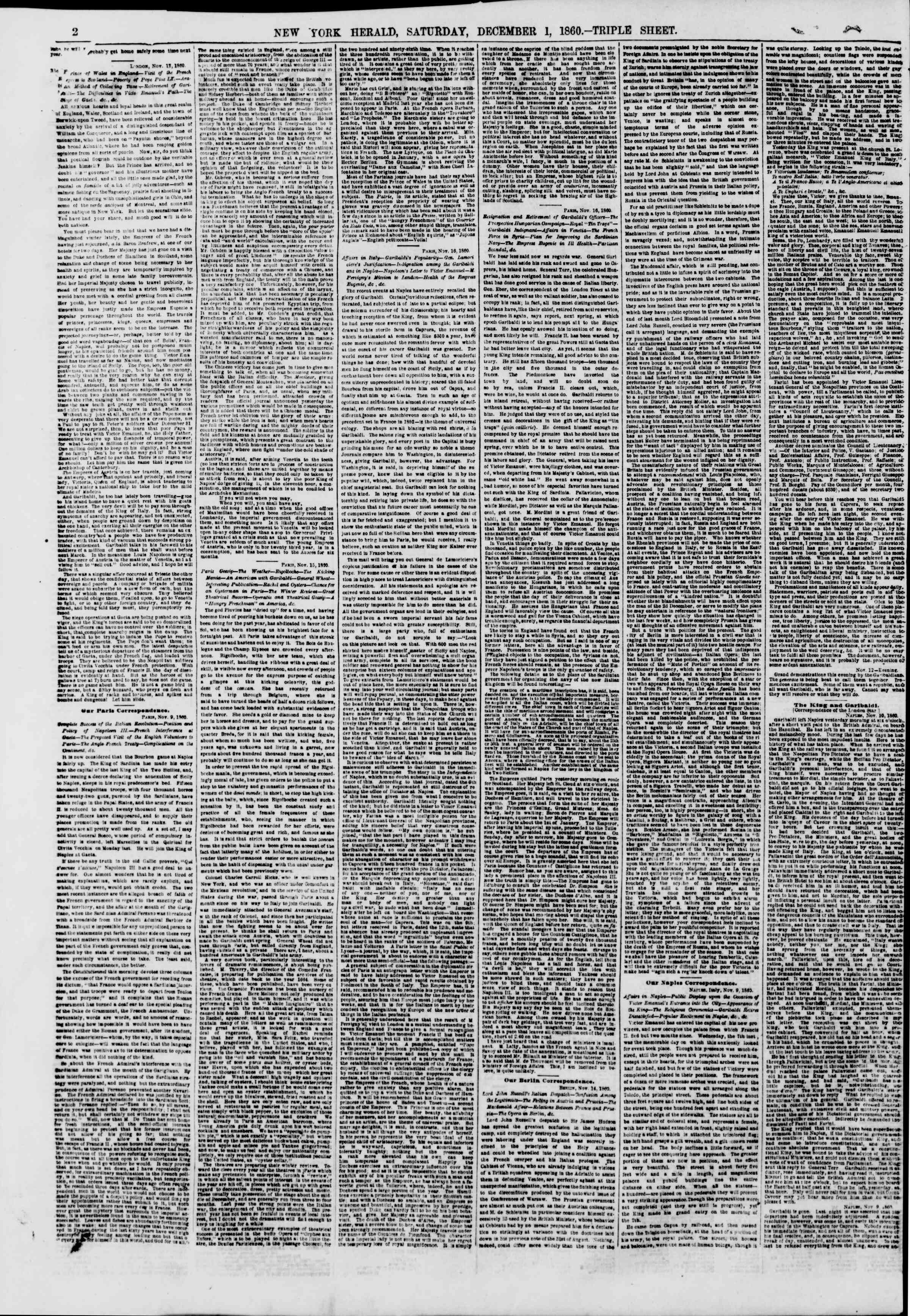 Newspaper of The New York Herald dated December 1, 1860 Page 2