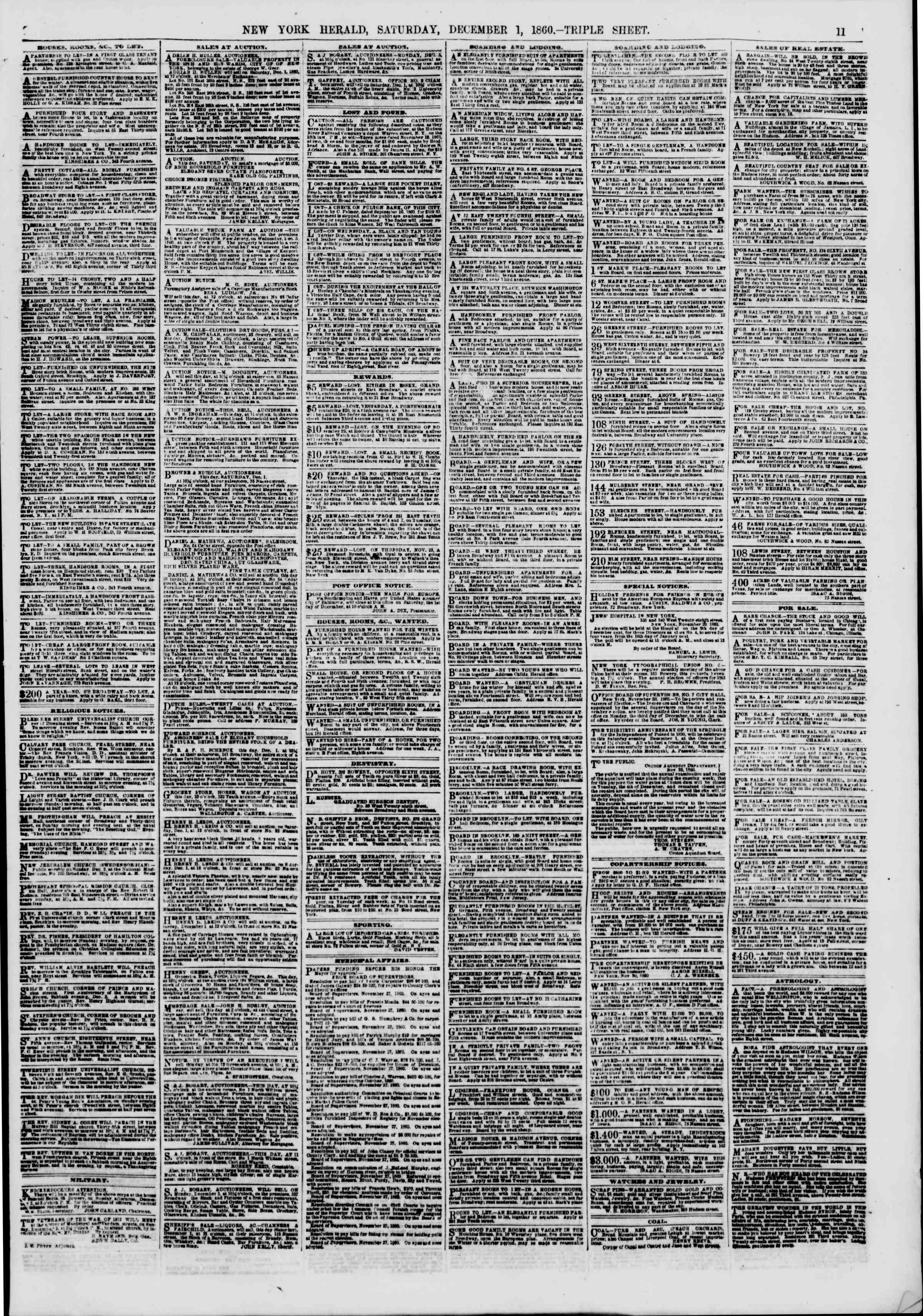 Newspaper of The New York Herald dated December 1, 1860 Page 11