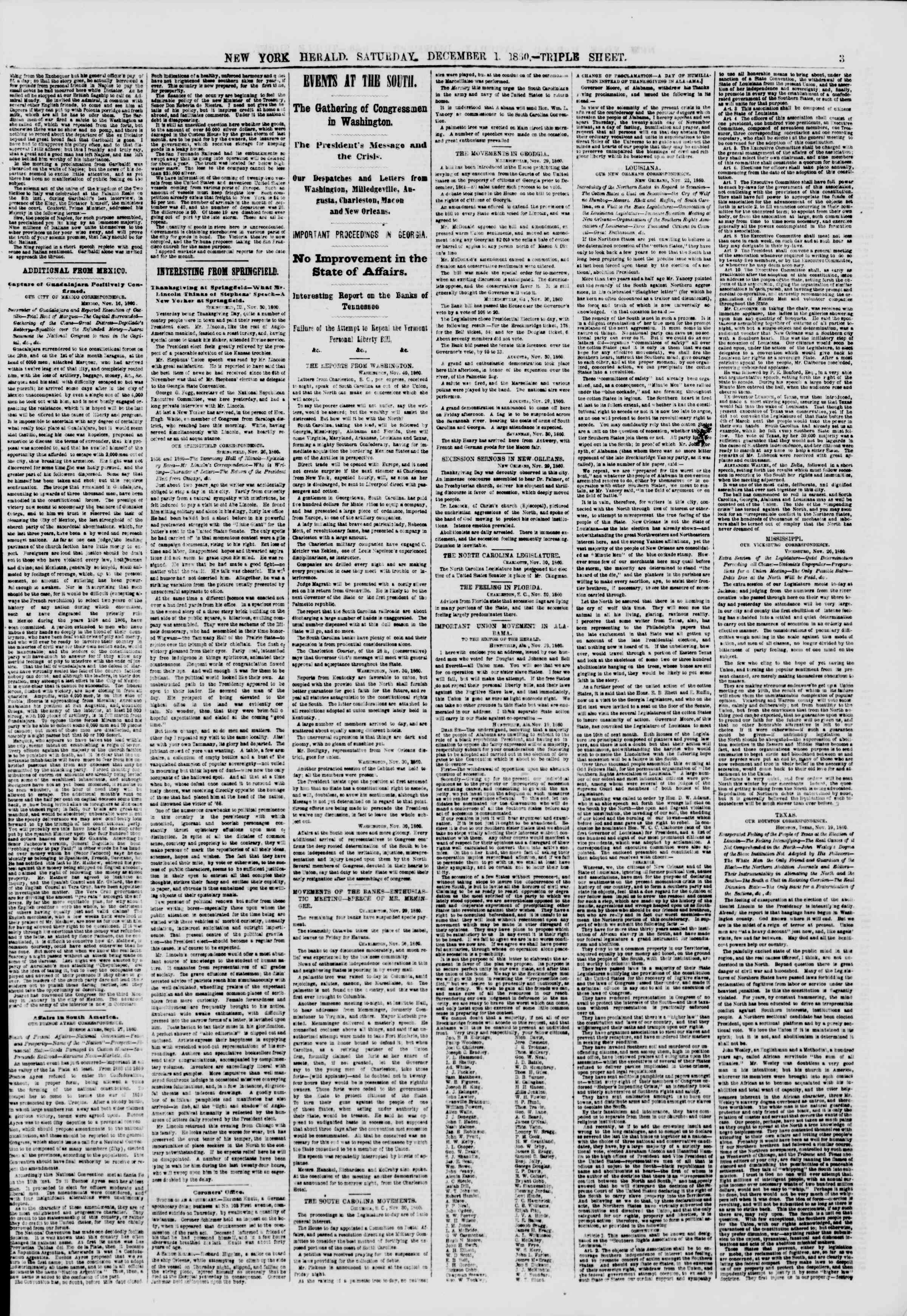 Newspaper of The New York Herald dated December 1, 1860 Page 3