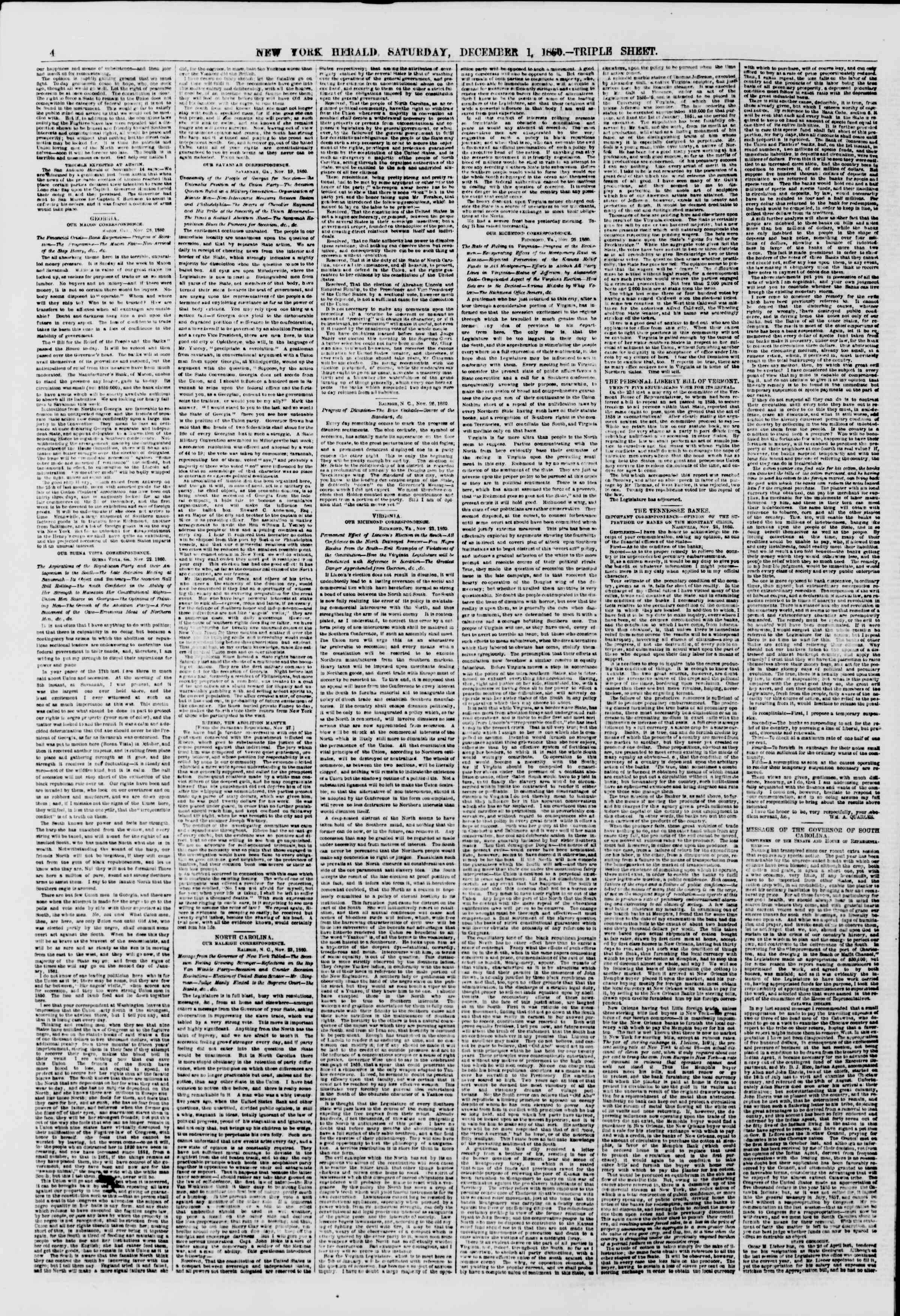 Newspaper of The New York Herald dated December 1, 1860 Page 4