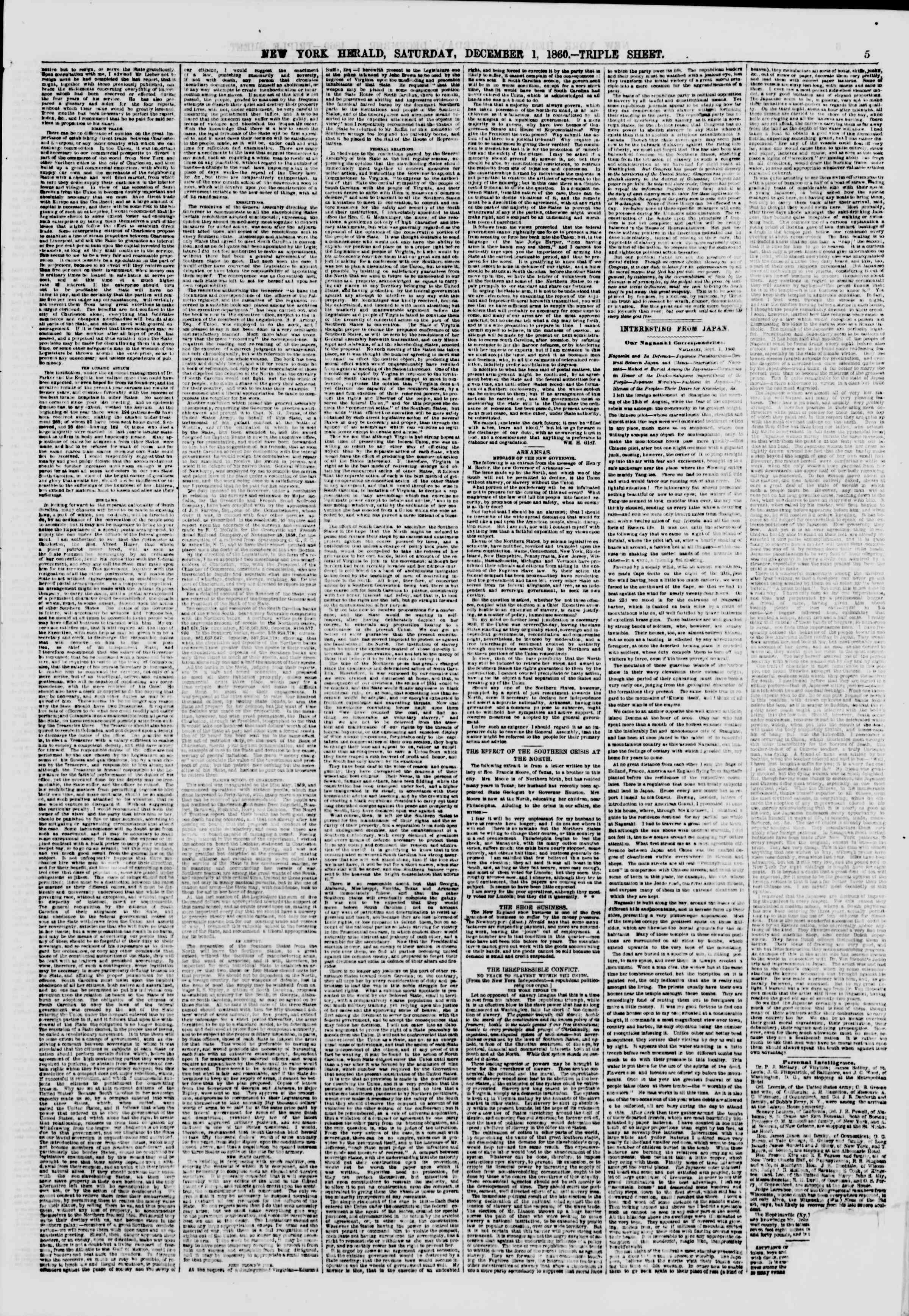 Newspaper of The New York Herald dated December 1, 1860 Page 5