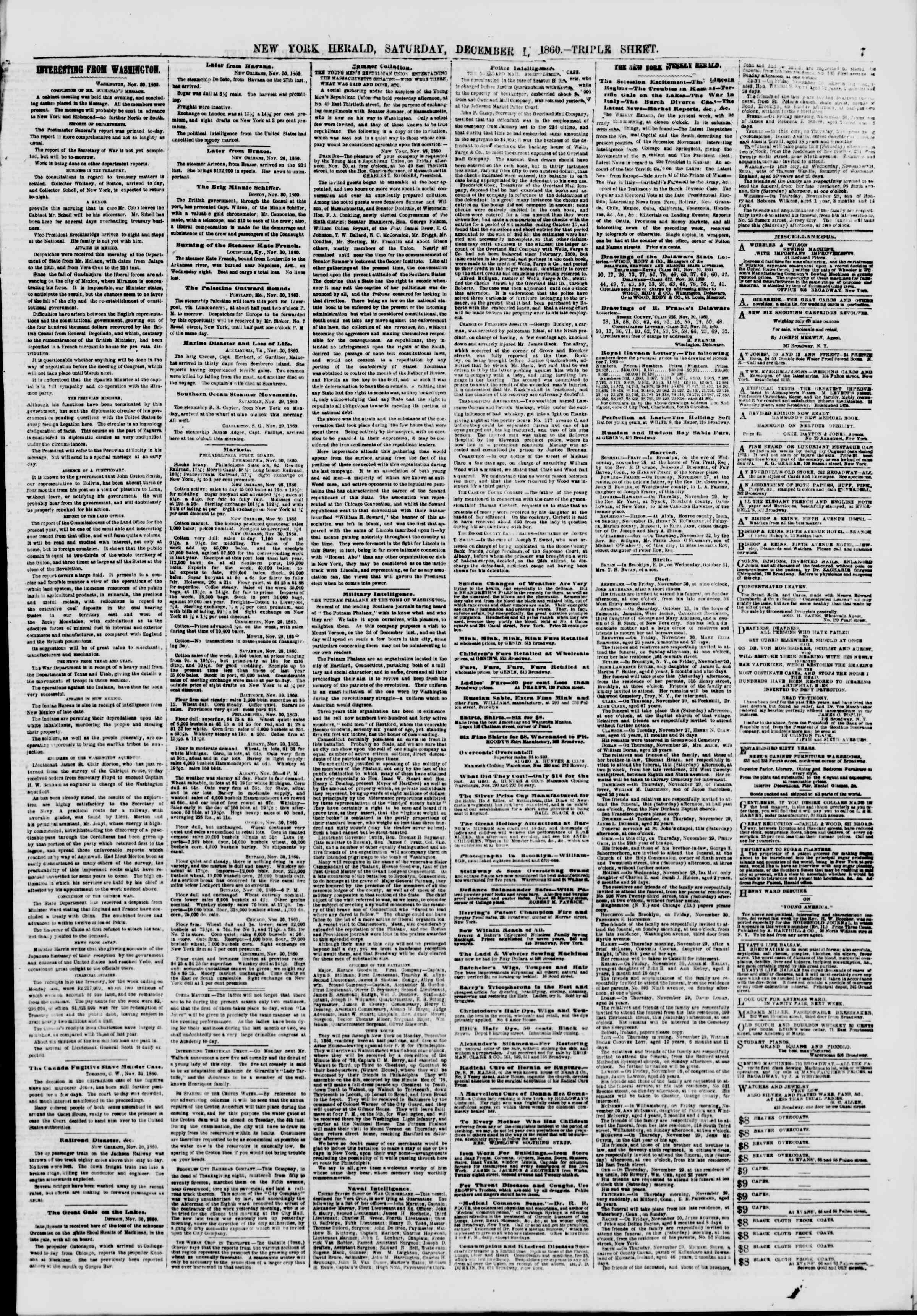 Newspaper of The New York Herald dated December 1, 1860 Page 7