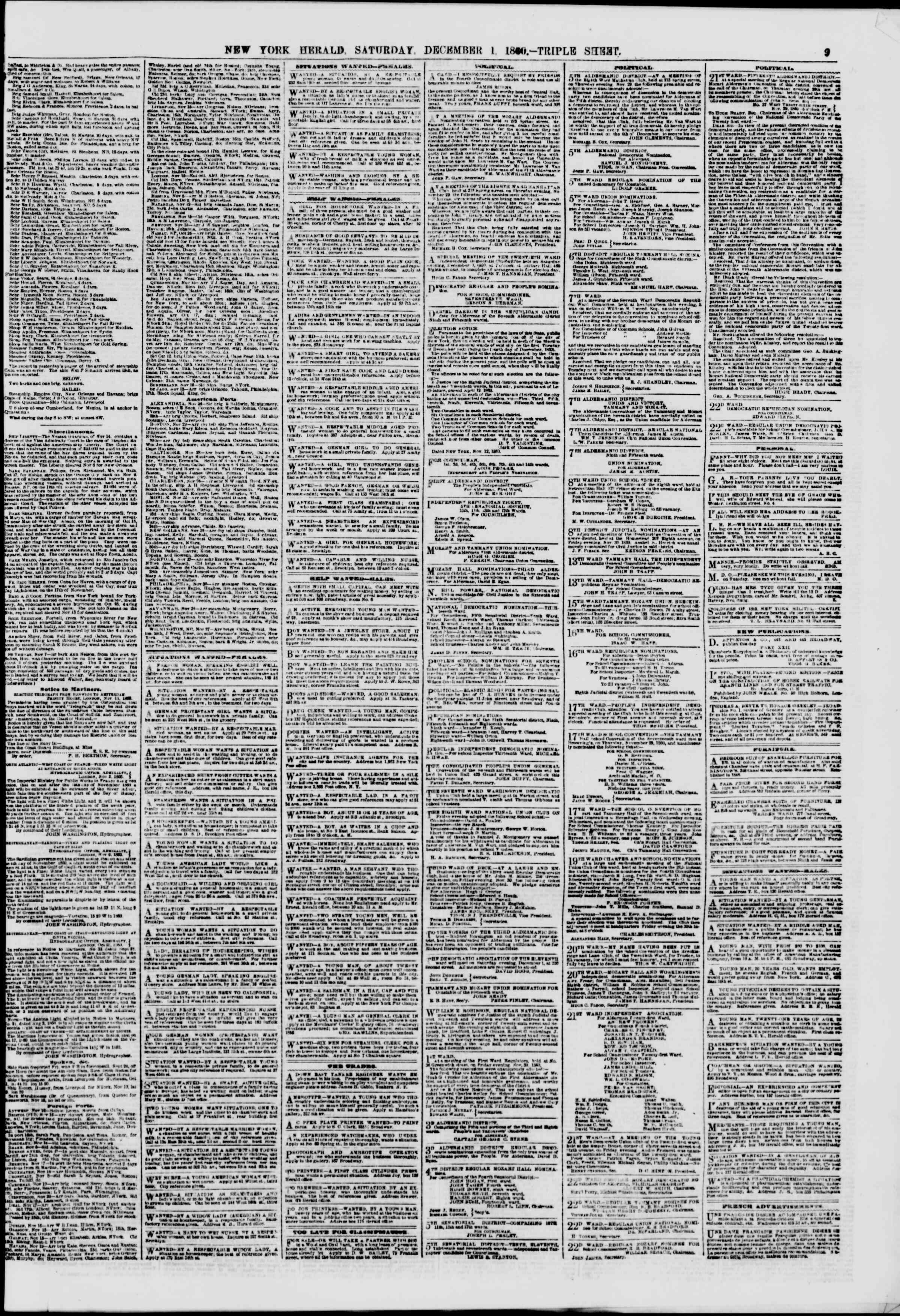 Newspaper of The New York Herald dated December 1, 1860 Page 9