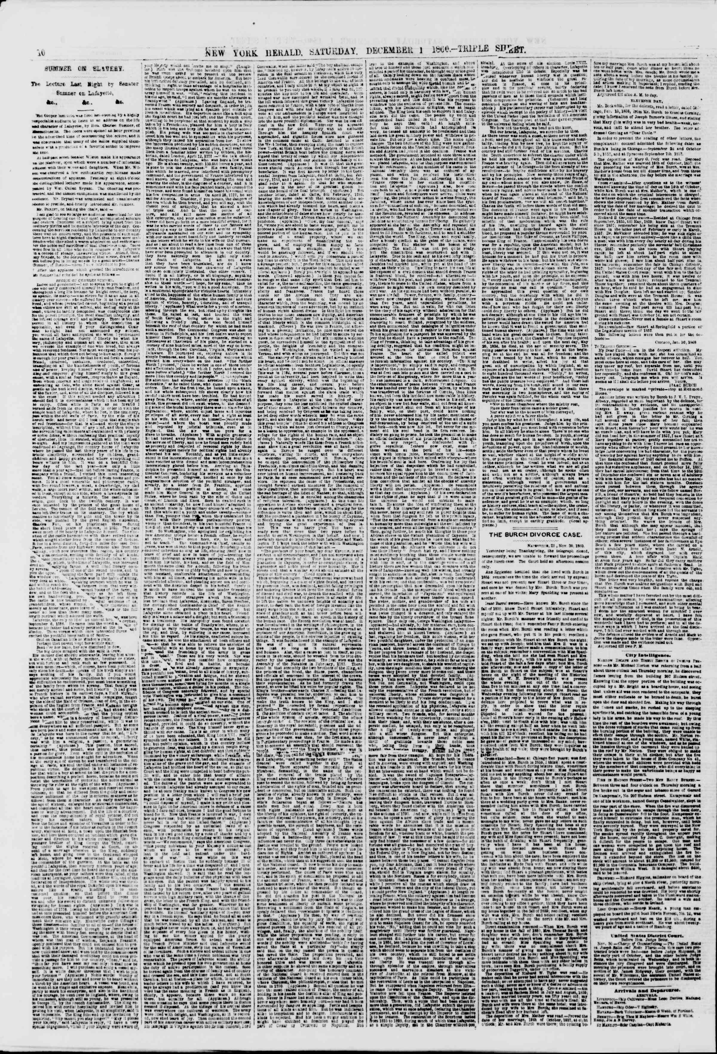 Newspaper of The New York Herald dated December 1, 1860 Page 10