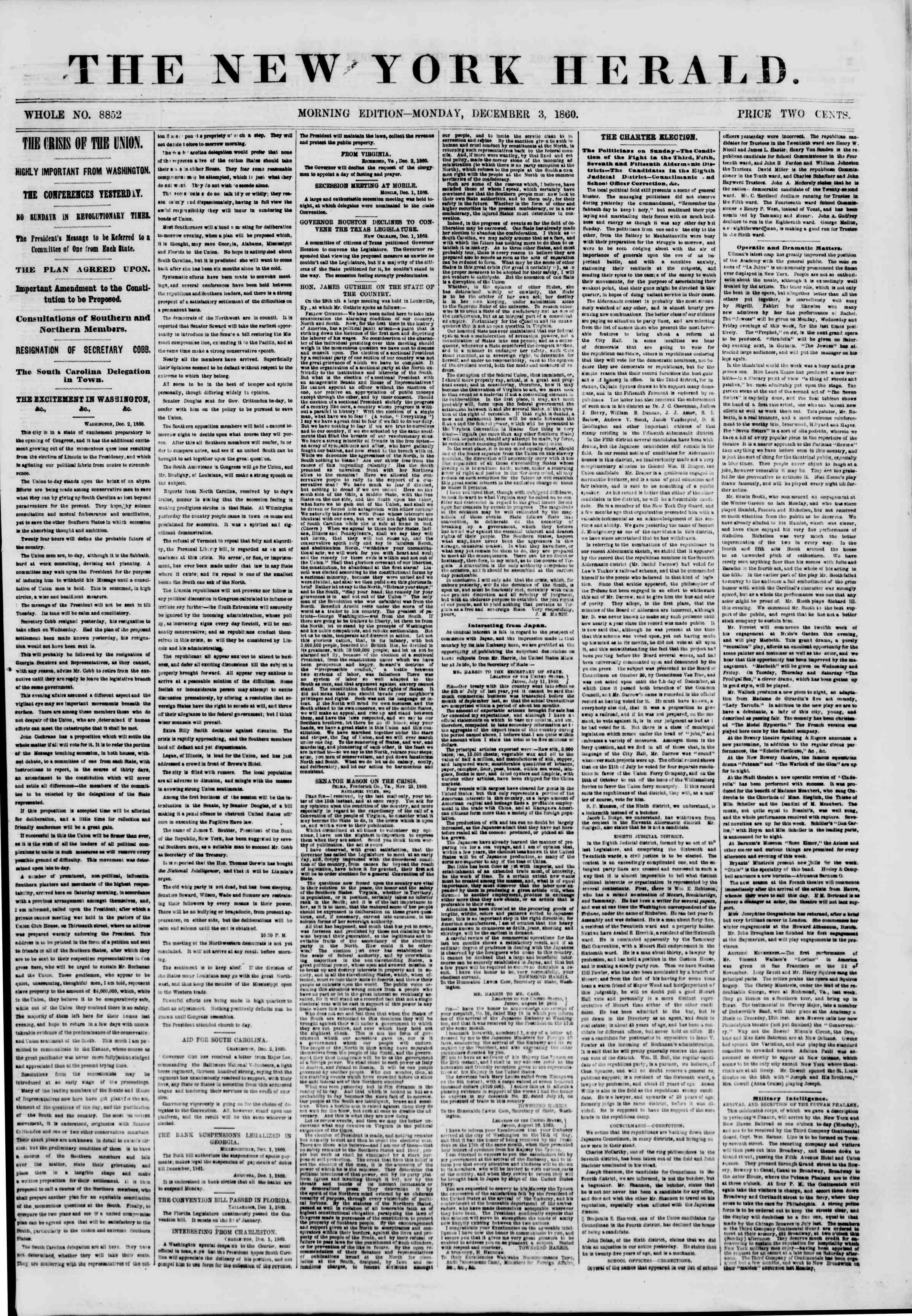 3 Aralık 1860 tarihli The New York Herald Gazetesi Sayfa 1
