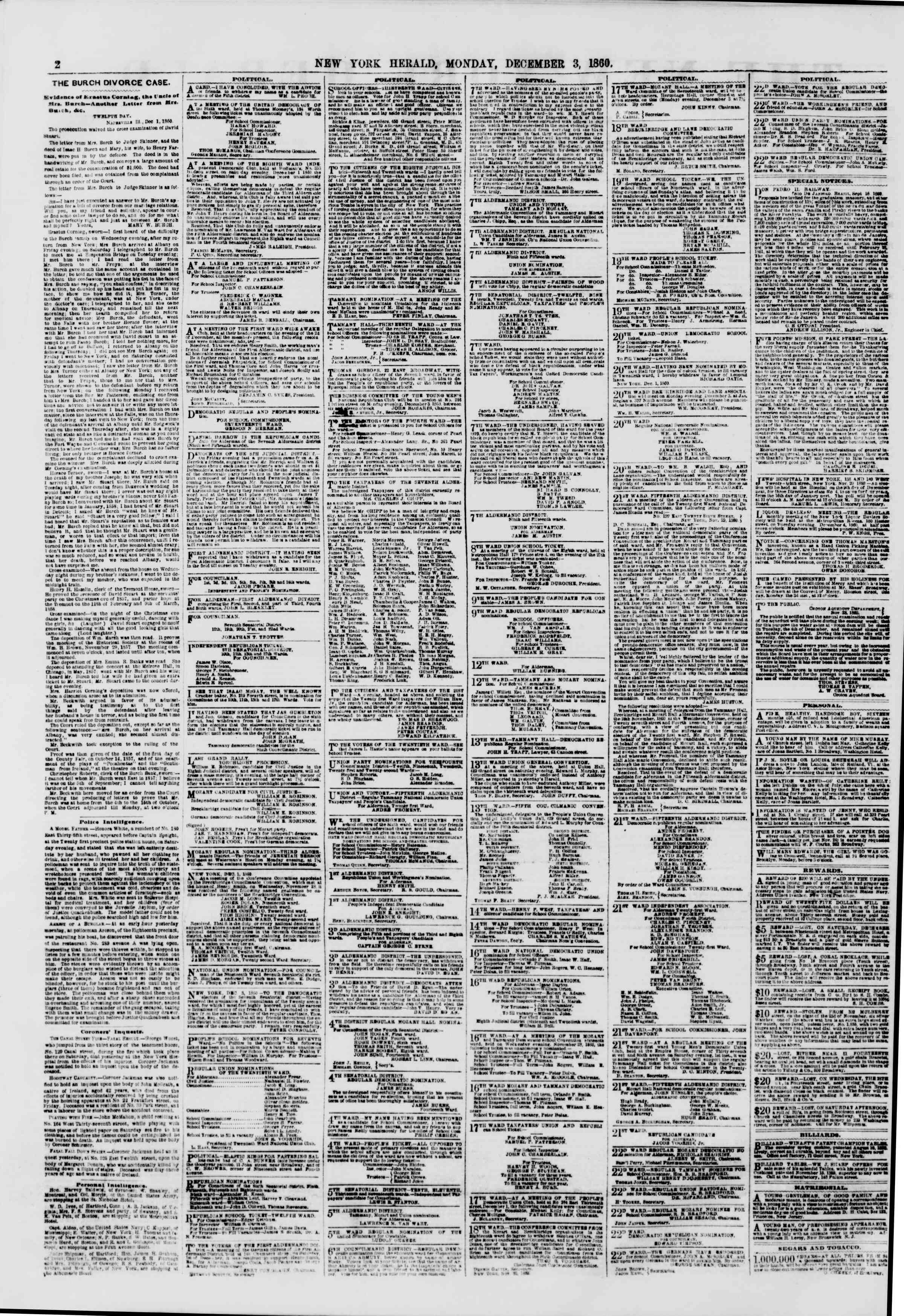 Newspaper of The New York Herald dated December 3, 1860 Page 2