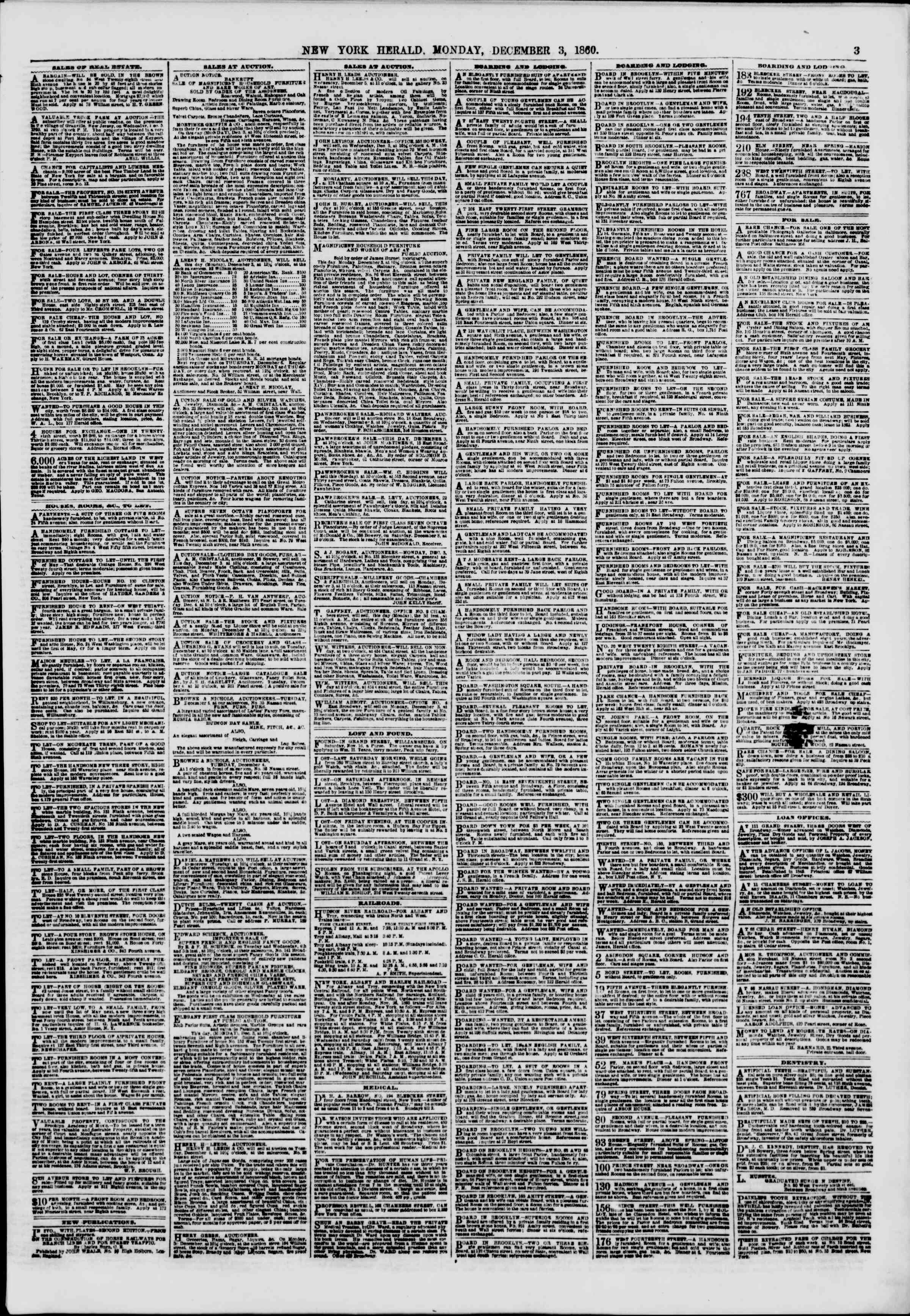 Newspaper of The New York Herald dated December 3, 1860 Page 3