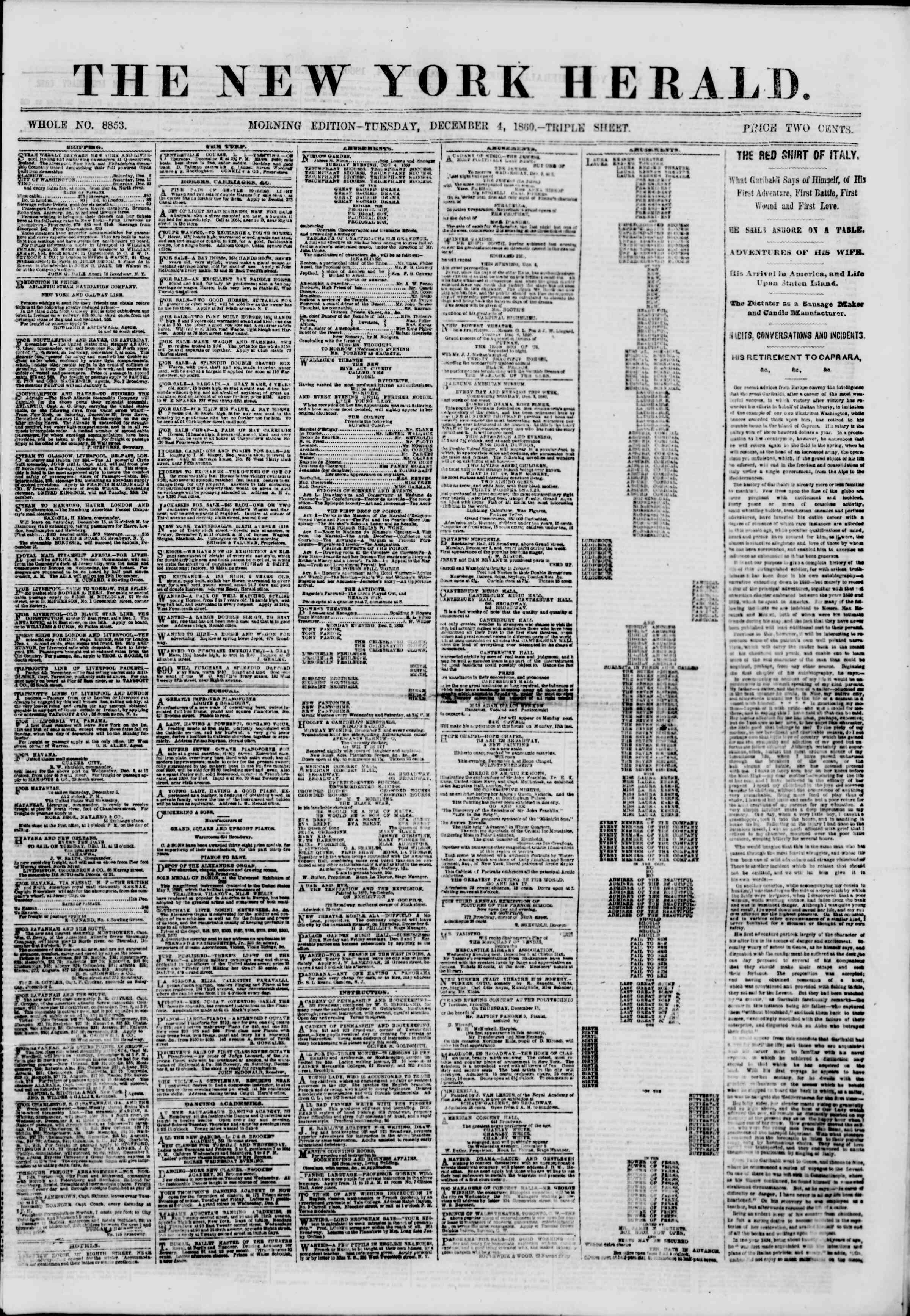 Newspaper of The New York Herald dated December 4, 1860 Page 1