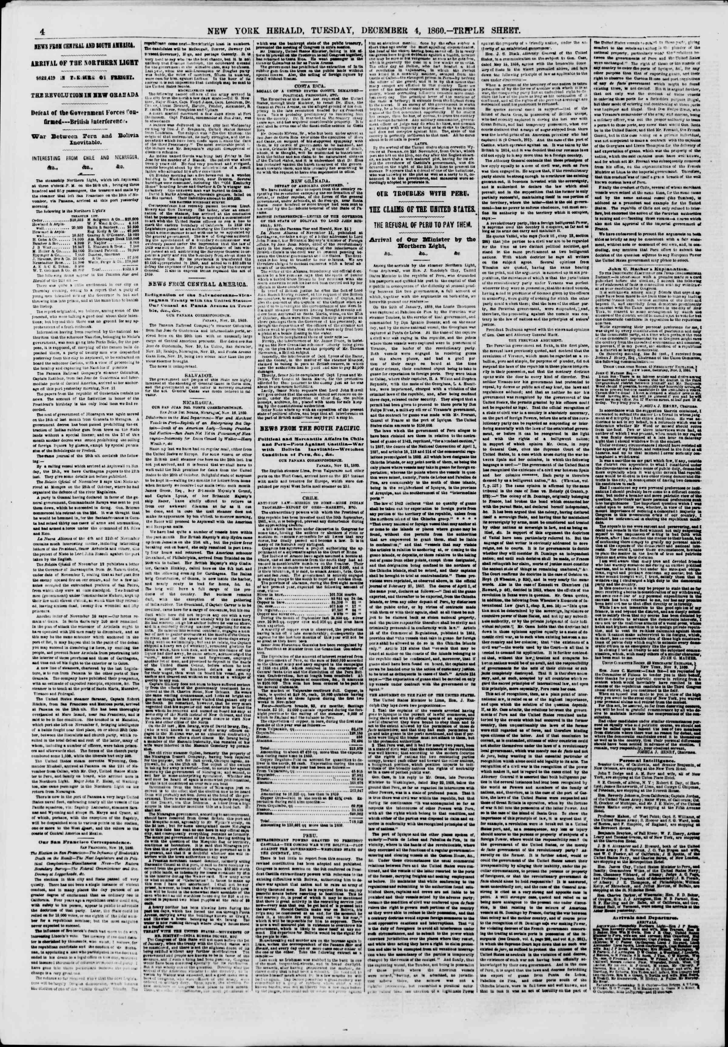 Newspaper of The New York Herald dated December 4, 1860 Page 4