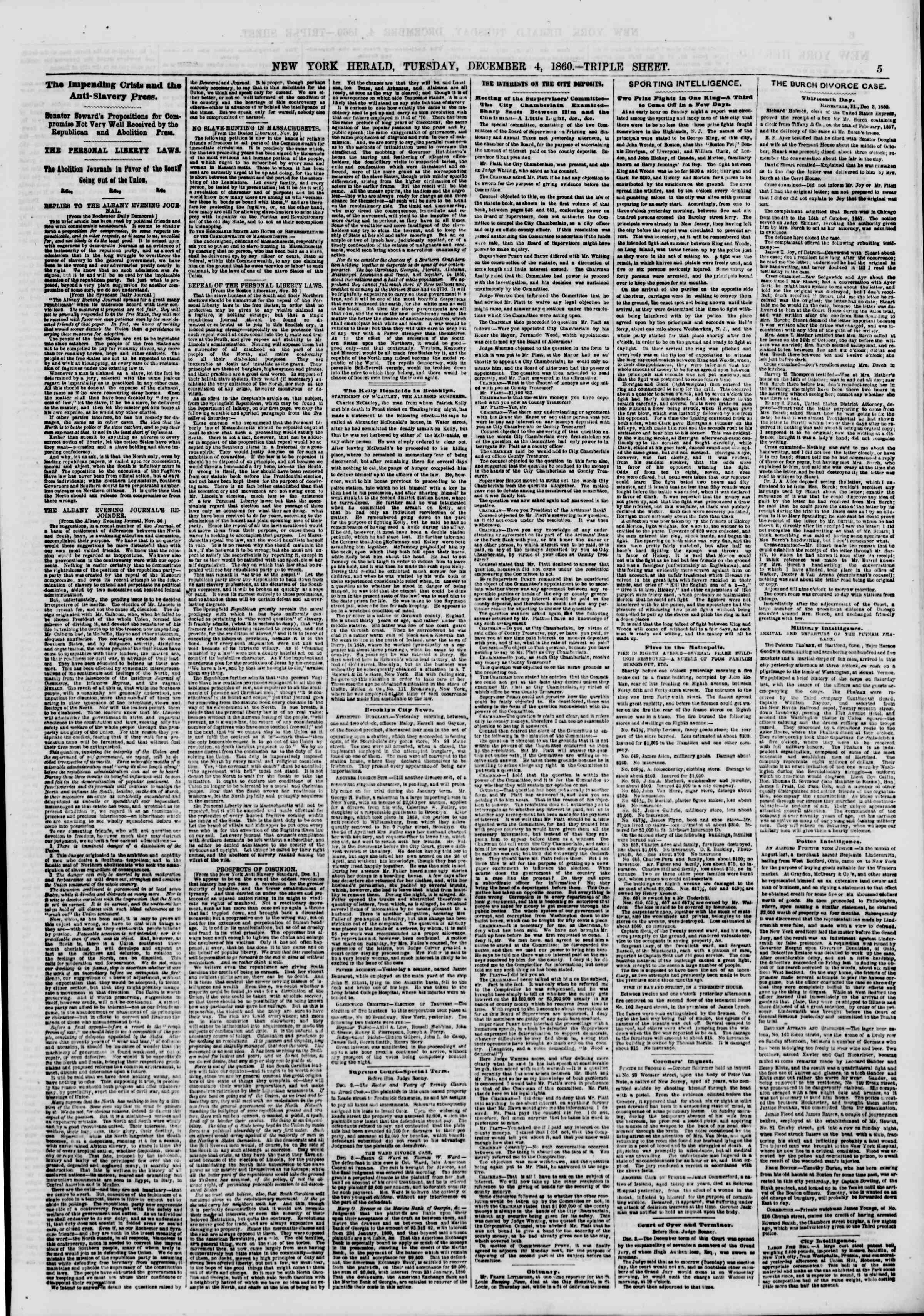 Newspaper of The New York Herald dated December 4, 1860 Page 5
