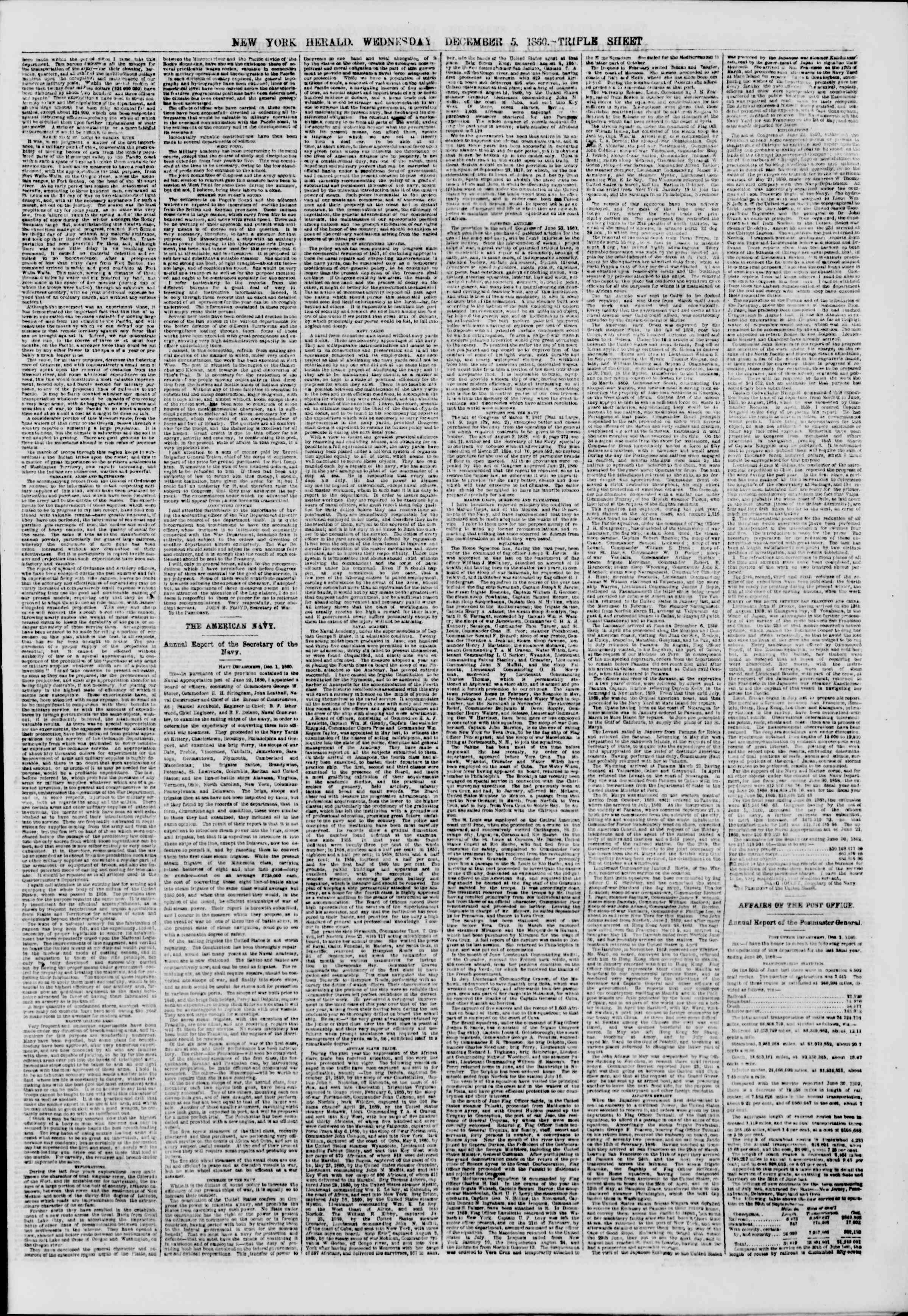 Newspaper of The New York Herald dated December 5, 1860 Page 3