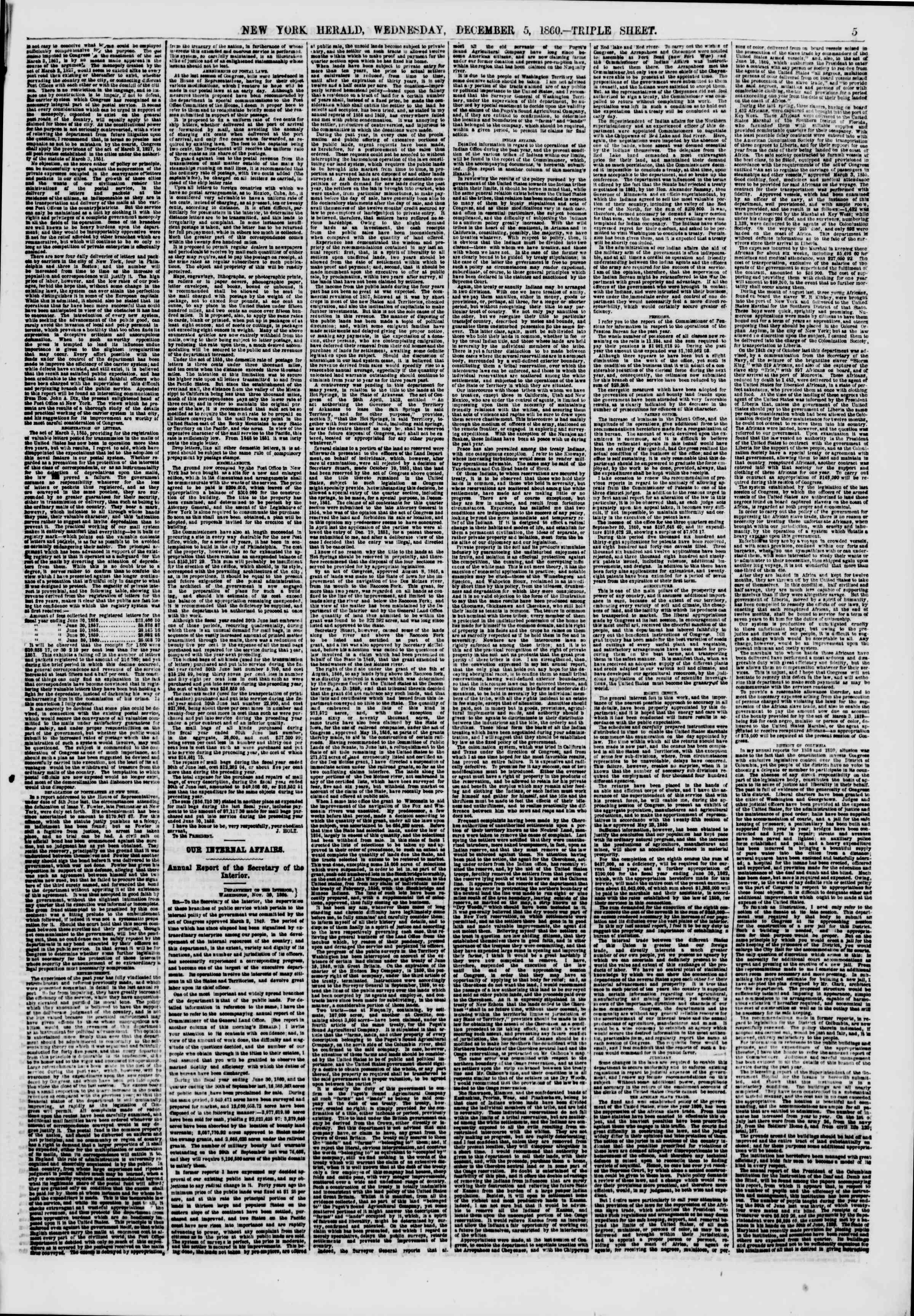 Newspaper of The New York Herald dated December 5, 1860 Page 5