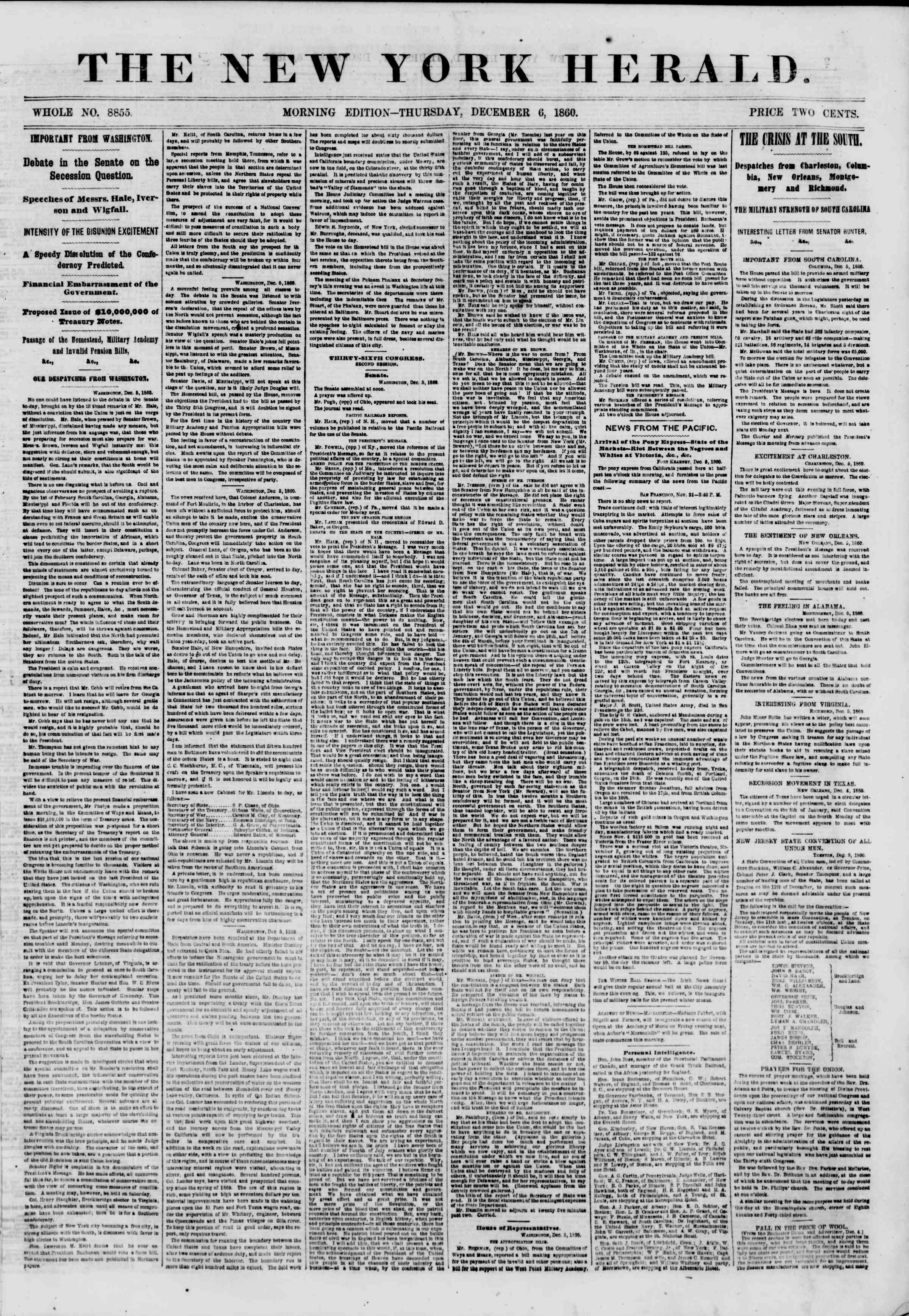Newspaper of The New York Herald dated December 6, 1860 Page 1