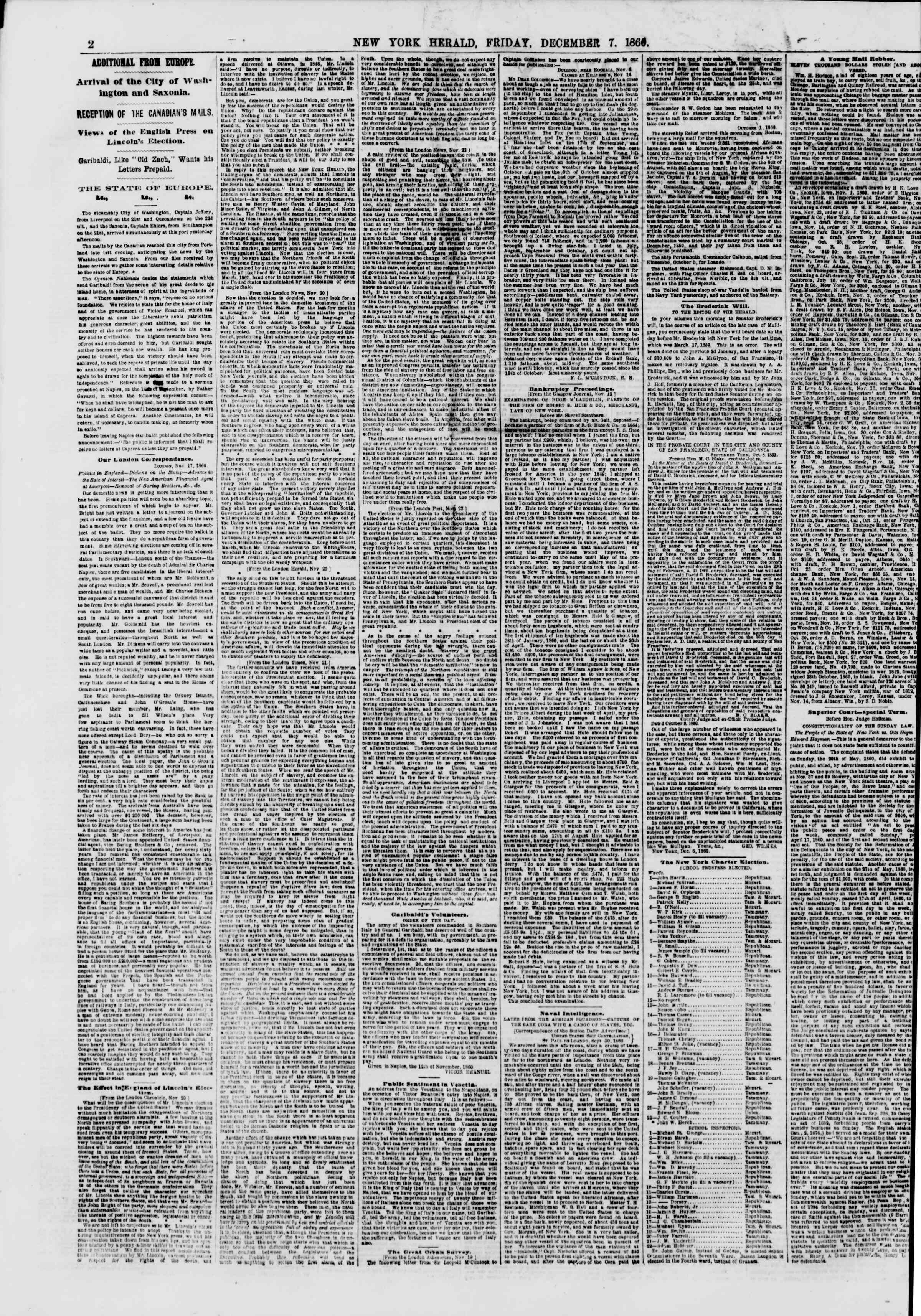 Newspaper of The New York Herald dated December 7, 1860 Page 2