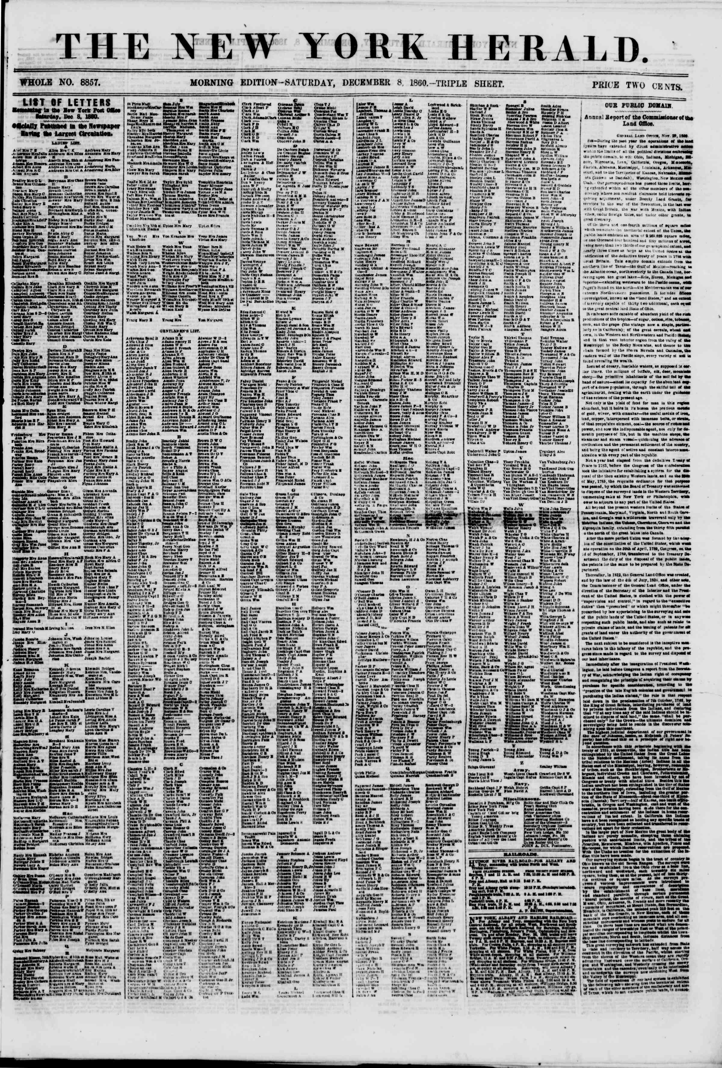 Newspaper of The New York Herald dated December 8, 1860 Page 1