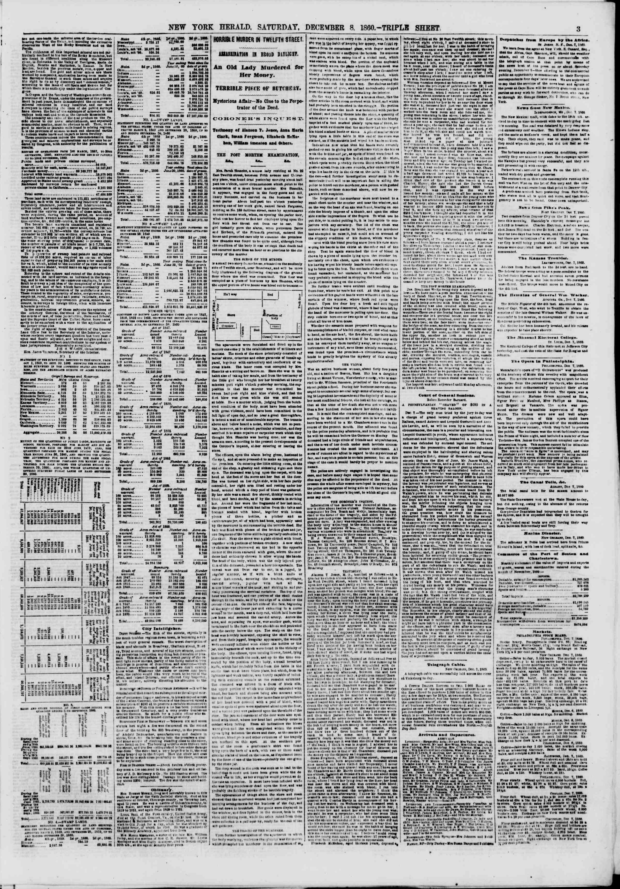 Newspaper of The New York Herald dated December 8, 1860 Page 3