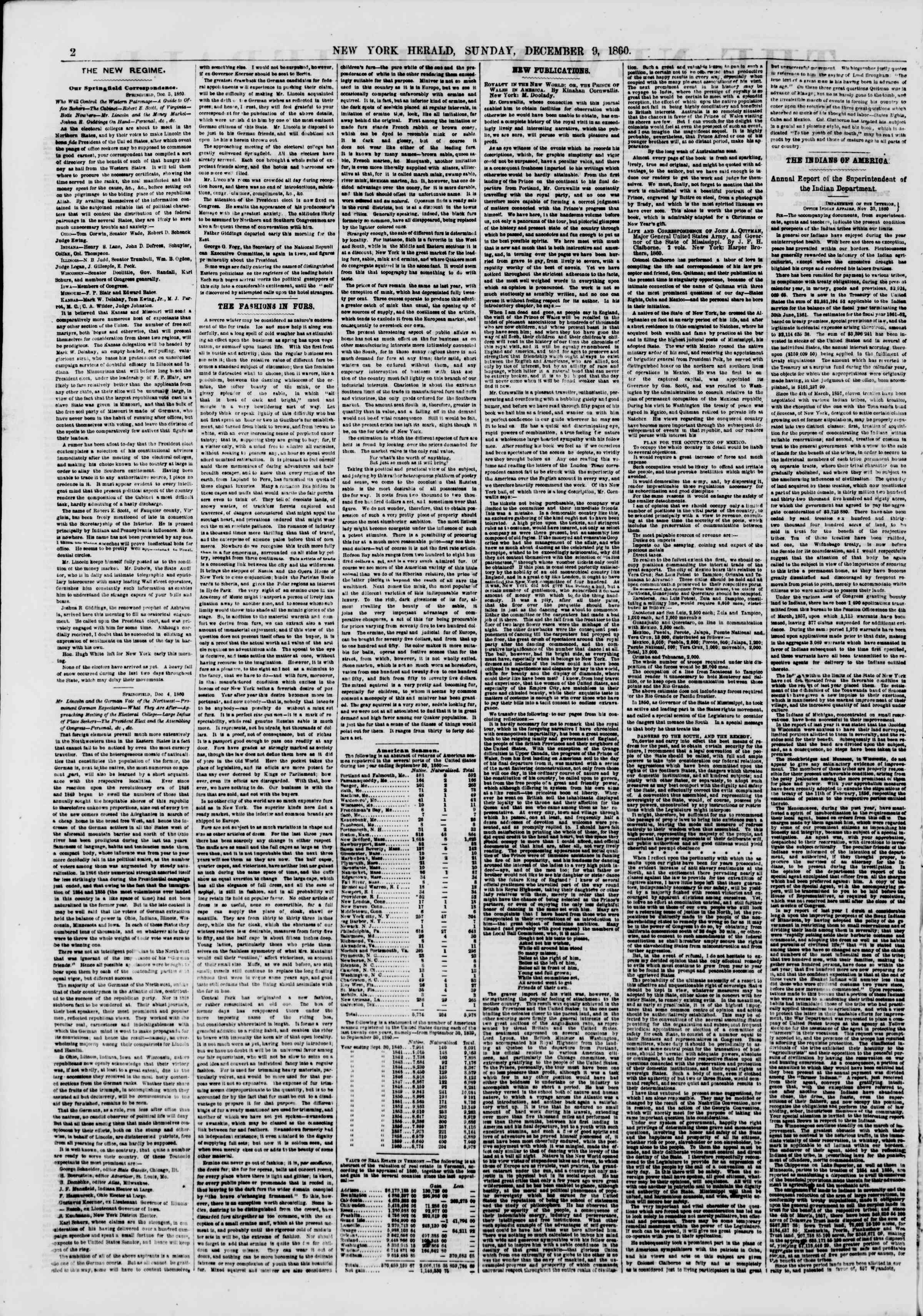 Newspaper of The New York Herald dated December 9, 1860 Page 2