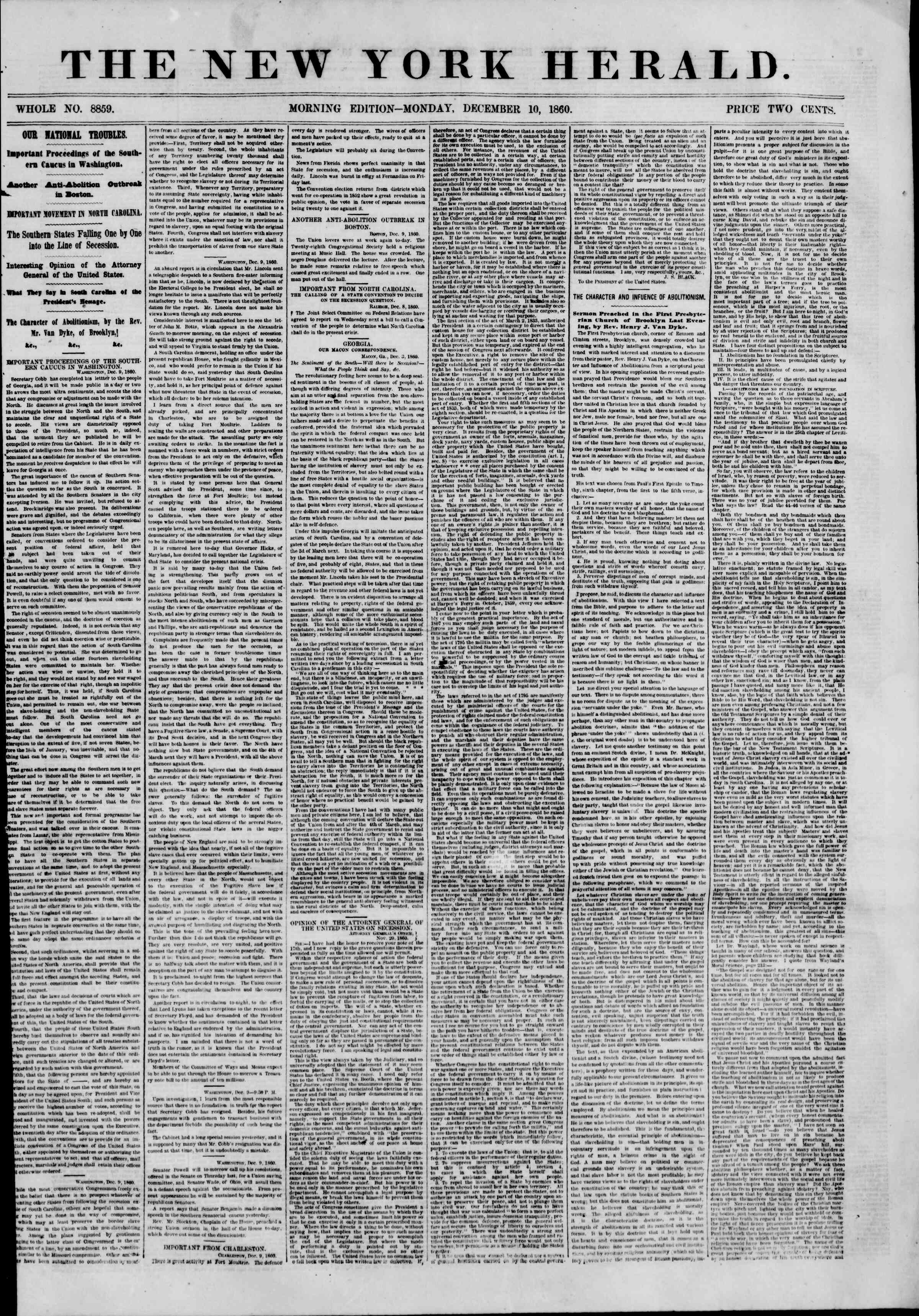 Newspaper of The New York Herald dated December 10, 1860 Page 1