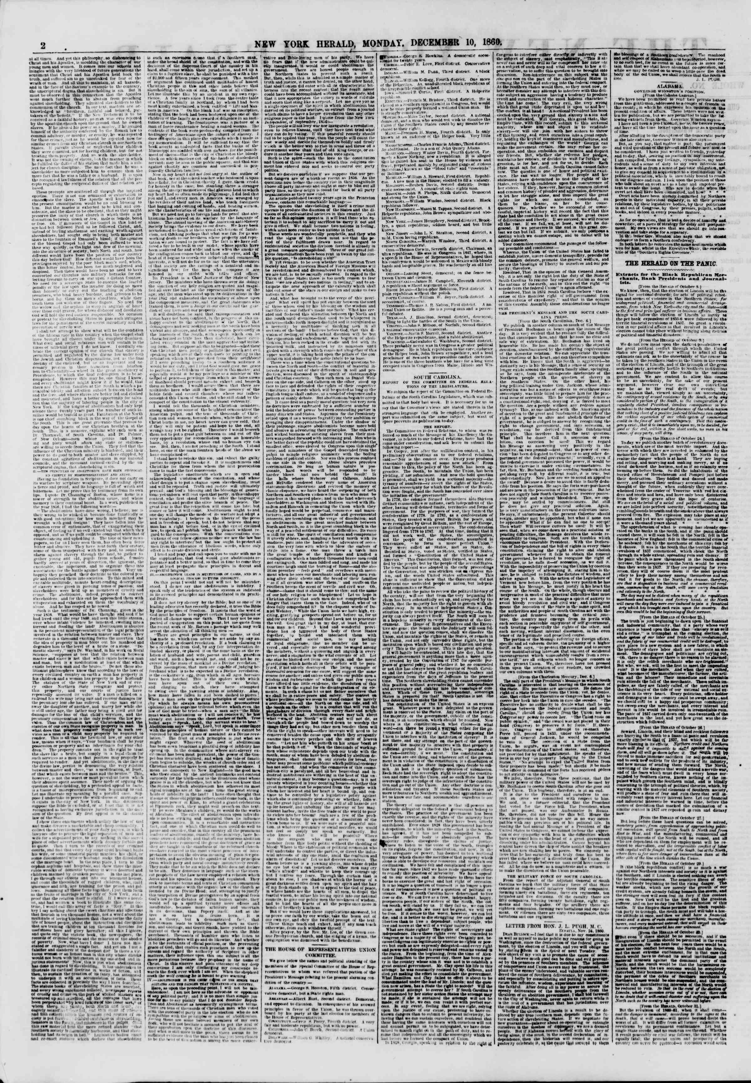 Newspaper of The New York Herald dated December 10, 1860 Page 2