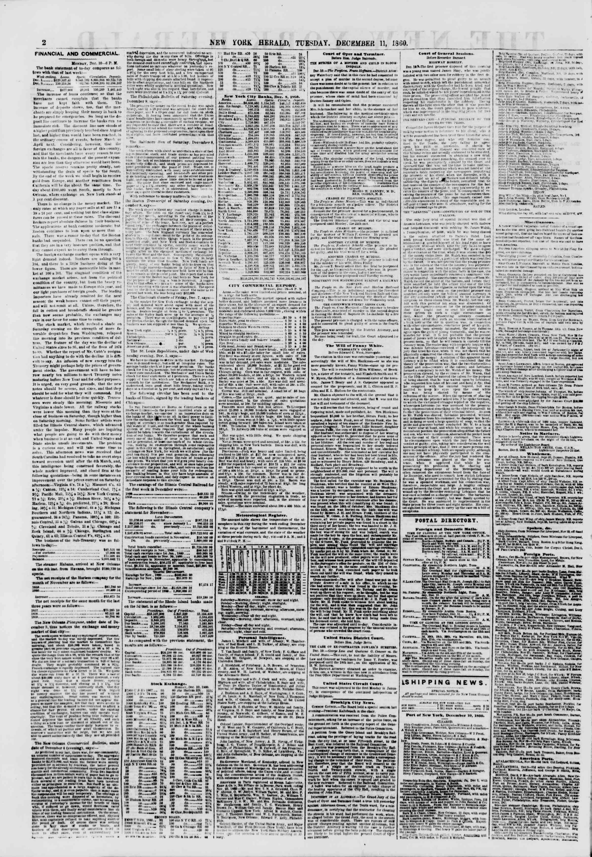 Newspaper of The New York Herald dated December 11, 1860 Page 2