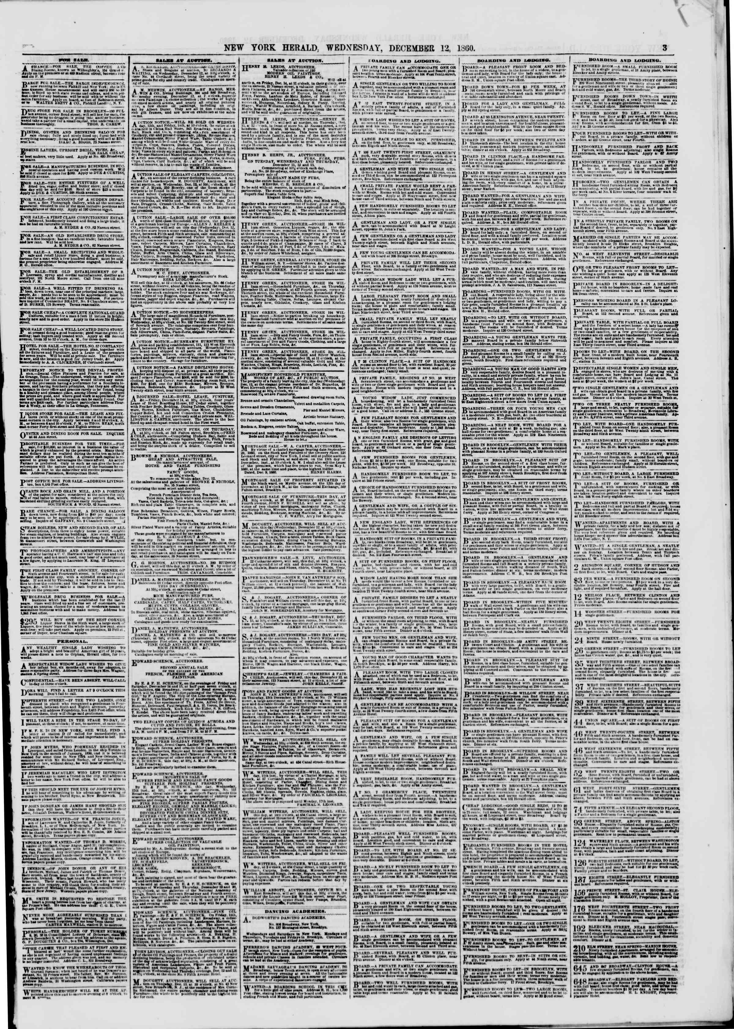 Newspaper of The New York Herald dated December 12, 1860 Page 3