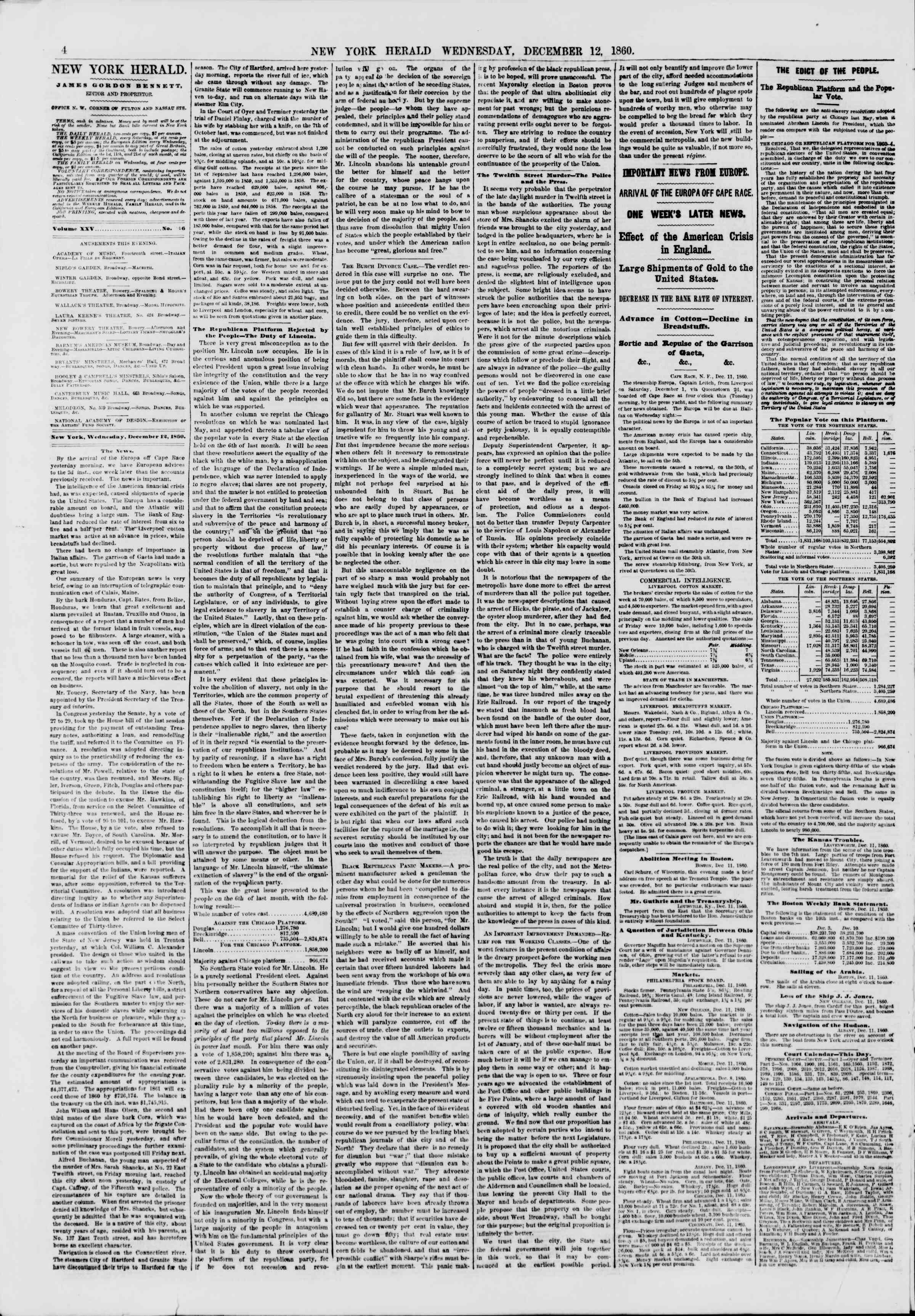 Newspaper of The New York Herald dated December 12, 1860 Page 4