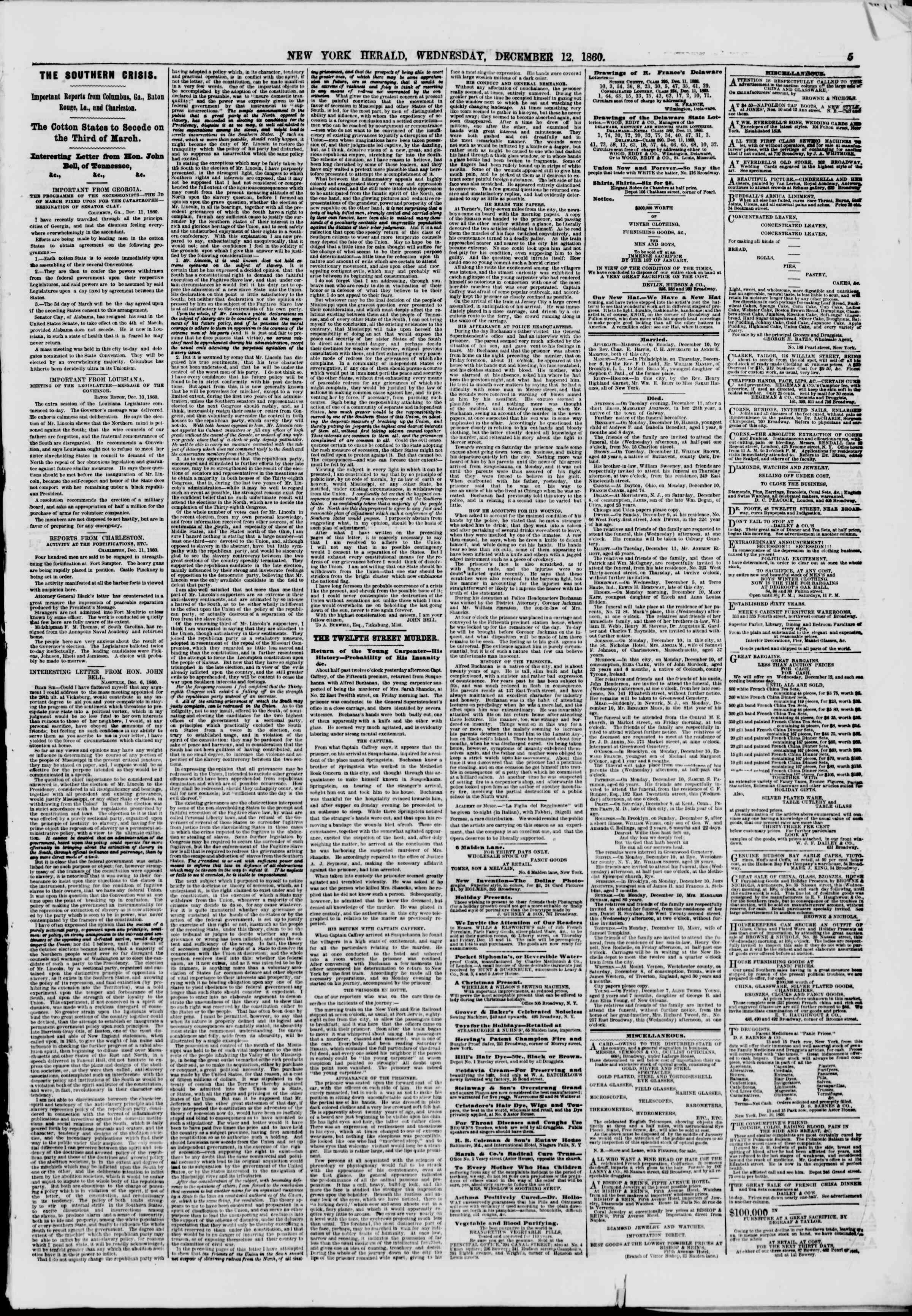 12 Aralık 1860 tarihli The New York Herald Gazetesi Sayfa 5