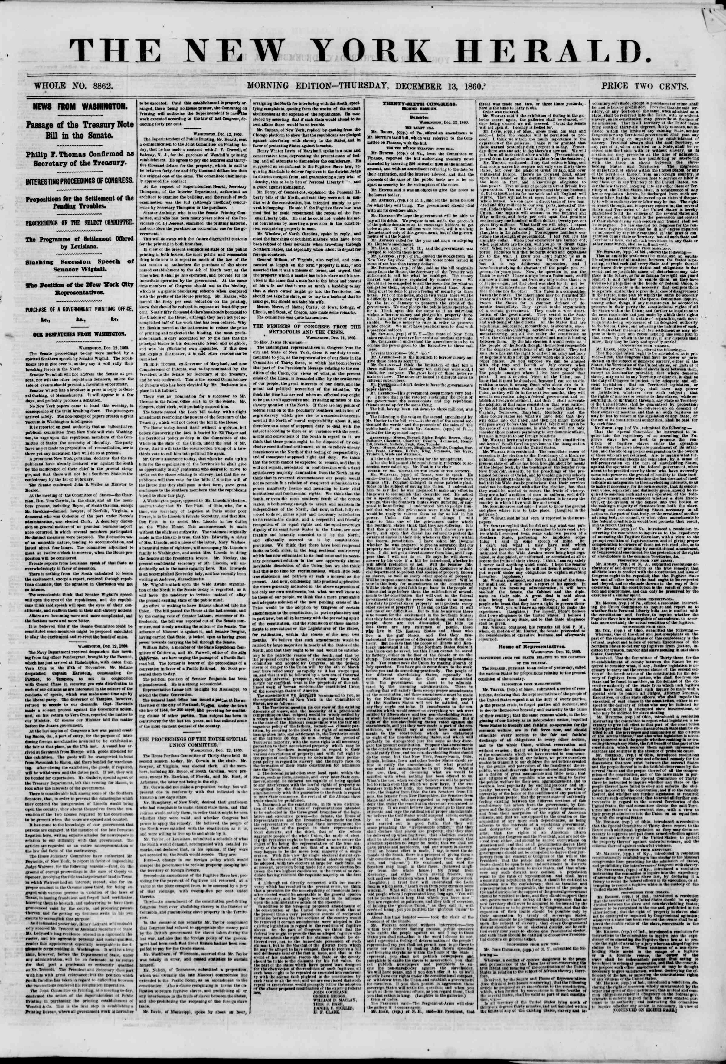 Newspaper of The New York Herald dated December 13, 1860 Page 1