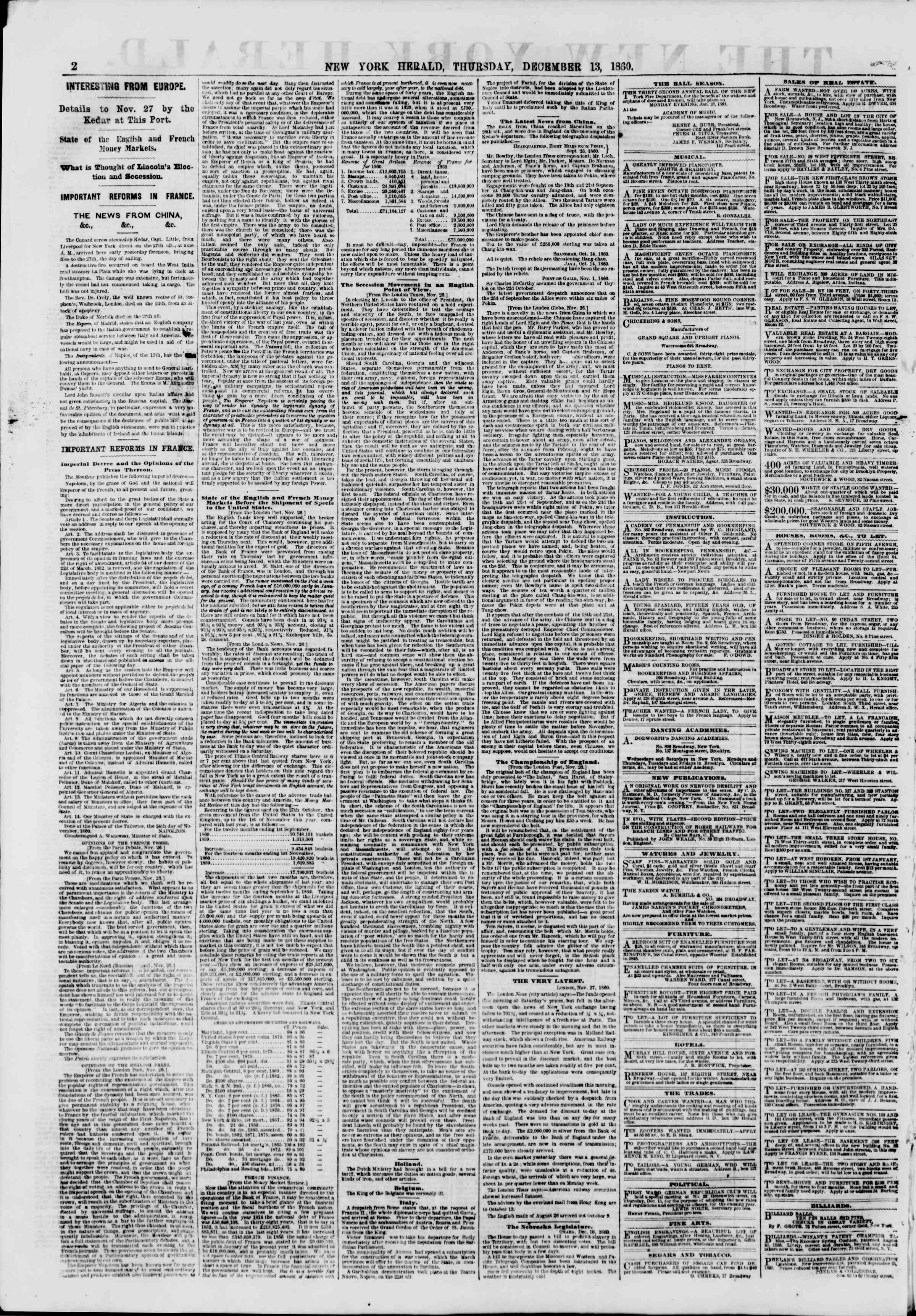 Newspaper of The New York Herald dated December 13, 1860 Page 2