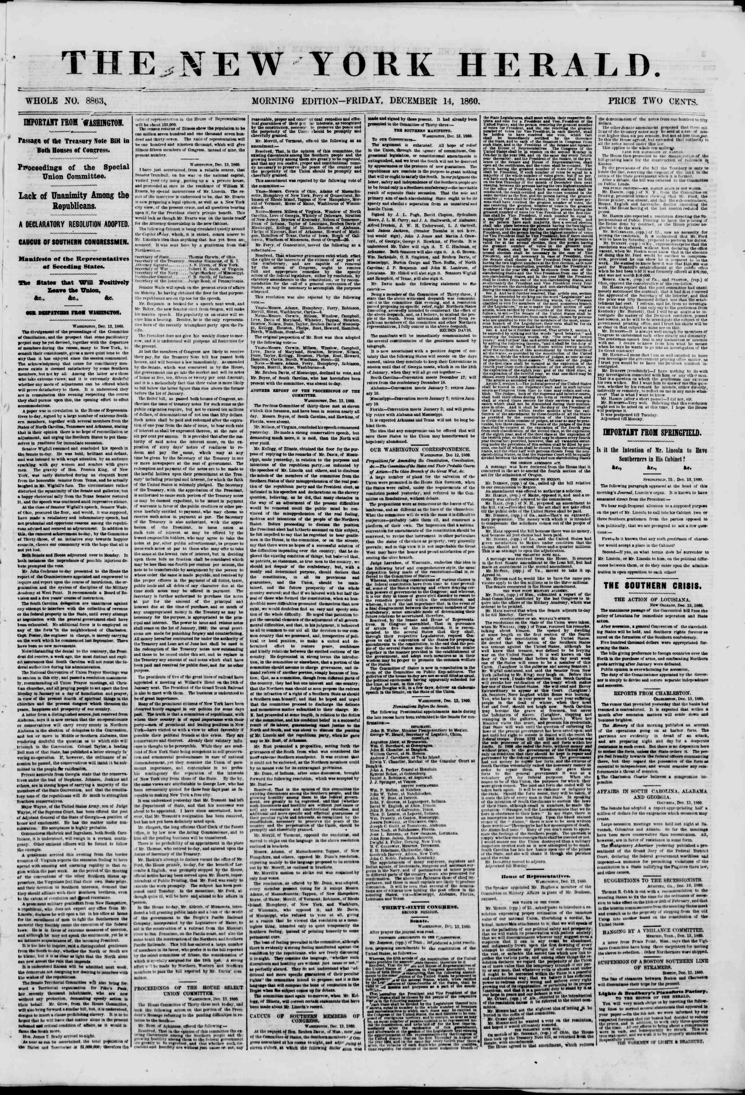 Newspaper of The New York Herald dated December 14, 1860 Page 1