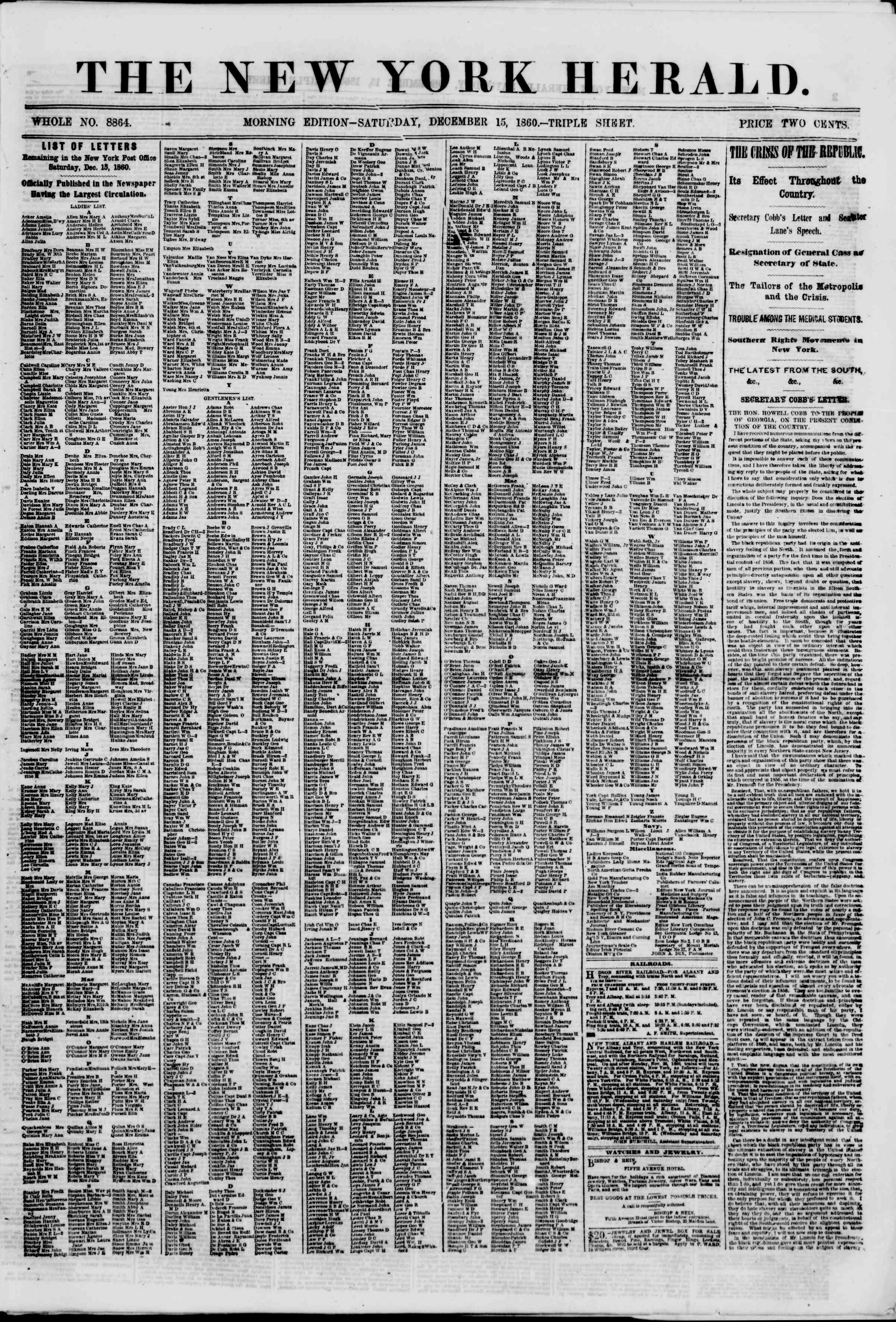 Newspaper of The New York Herald dated December 15, 1860 Page 1