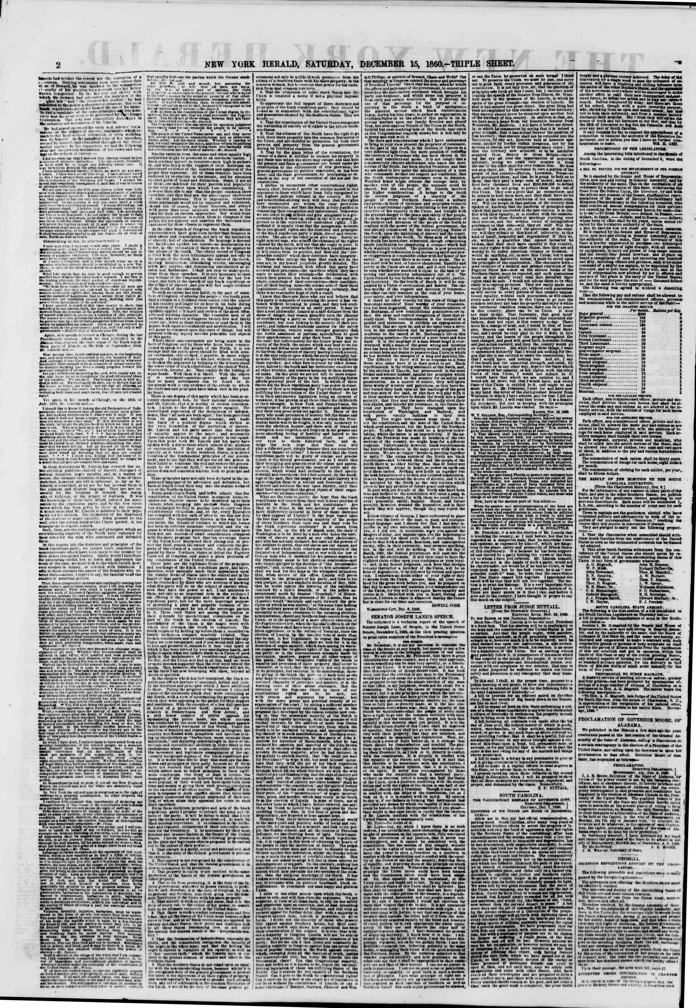 Newspaper of The New York Herald dated December 15, 1860 Page 2