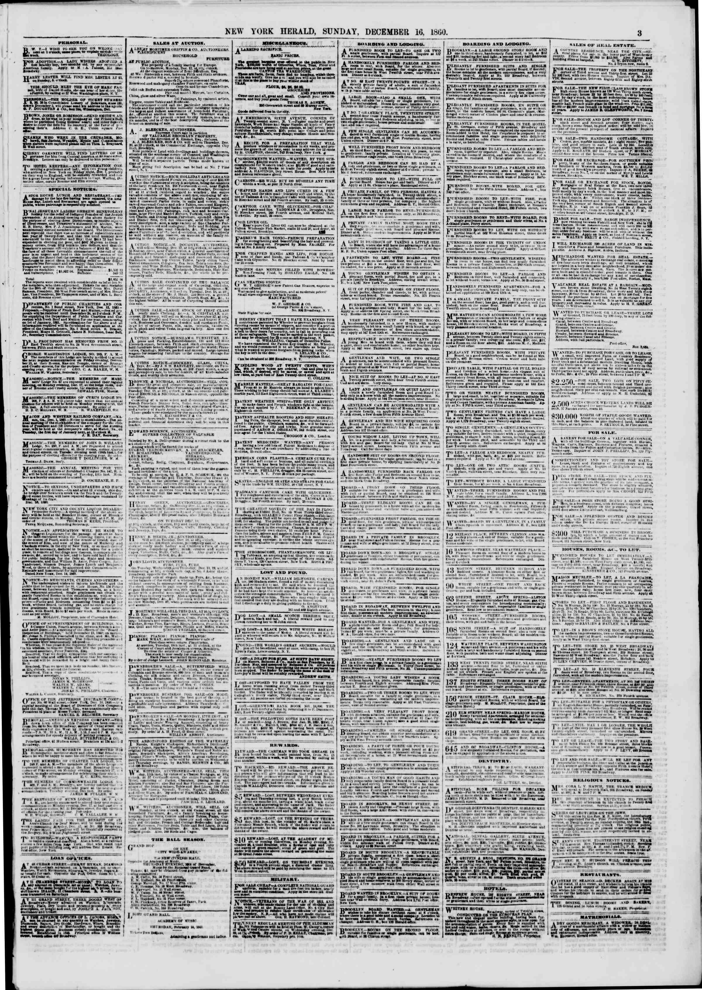 Newspaper of The New York Herald dated December 16, 1860 Page 3
