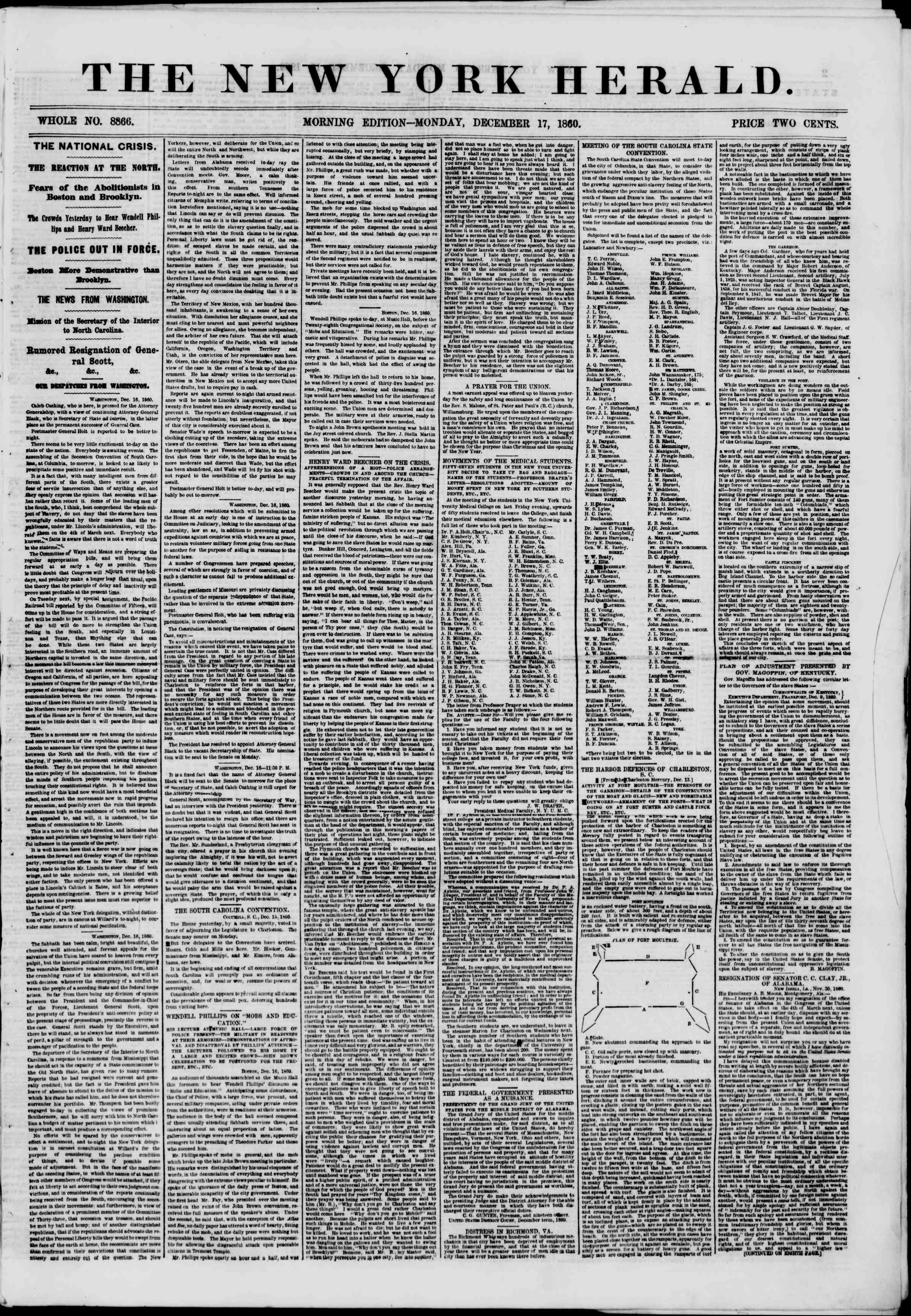 Newspaper of The New York Herald dated December 17, 1860 Page 1