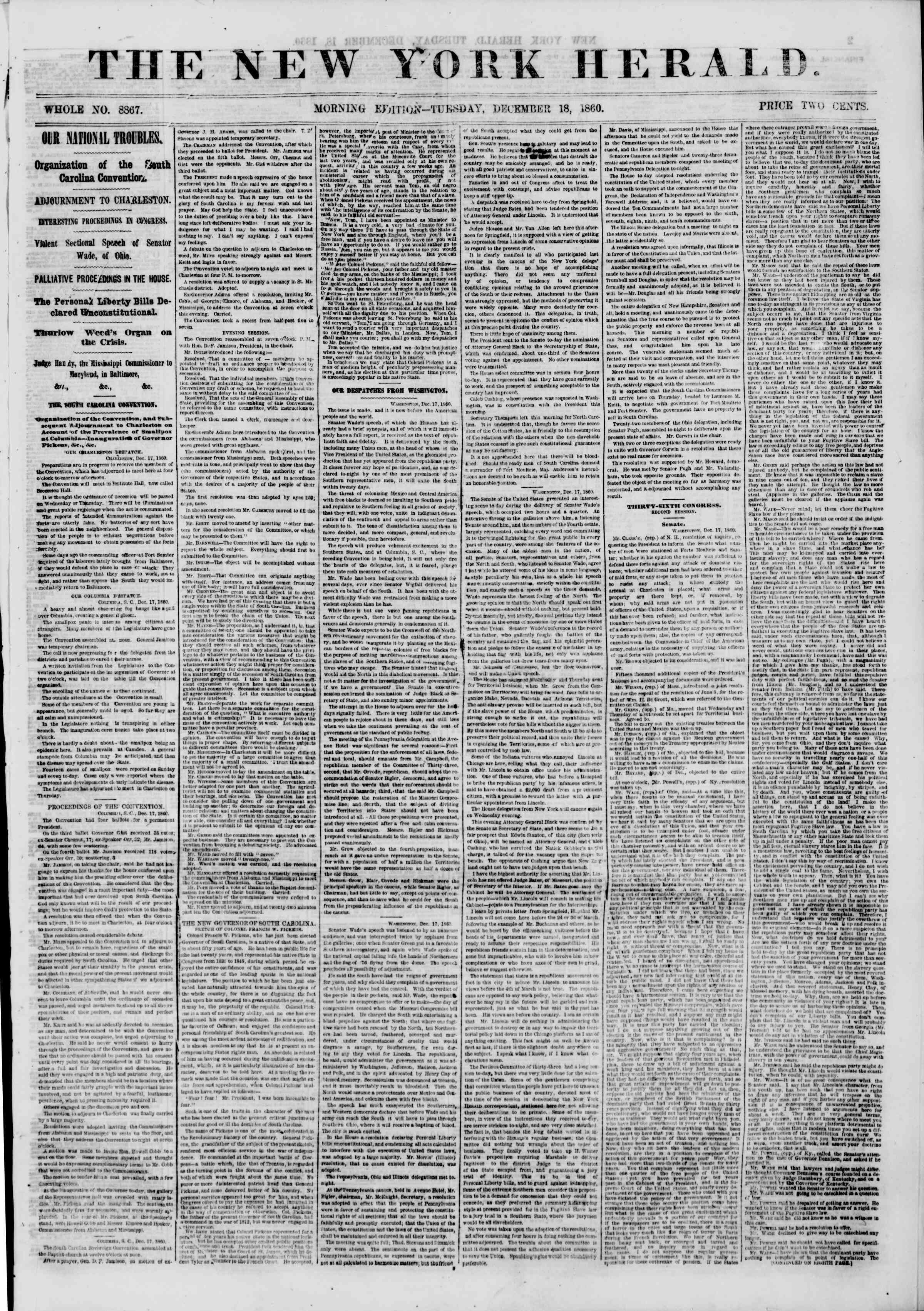 Newspaper of The New York Herald dated December 18, 1860 Page 1