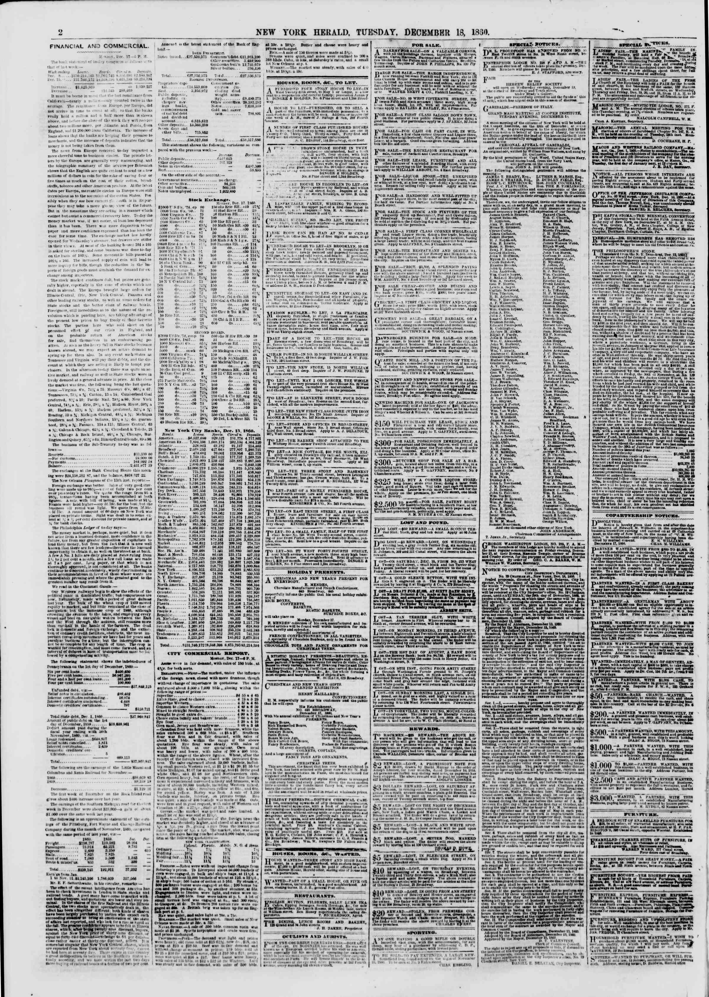 Newspaper of The New York Herald dated December 18, 1860 Page 2