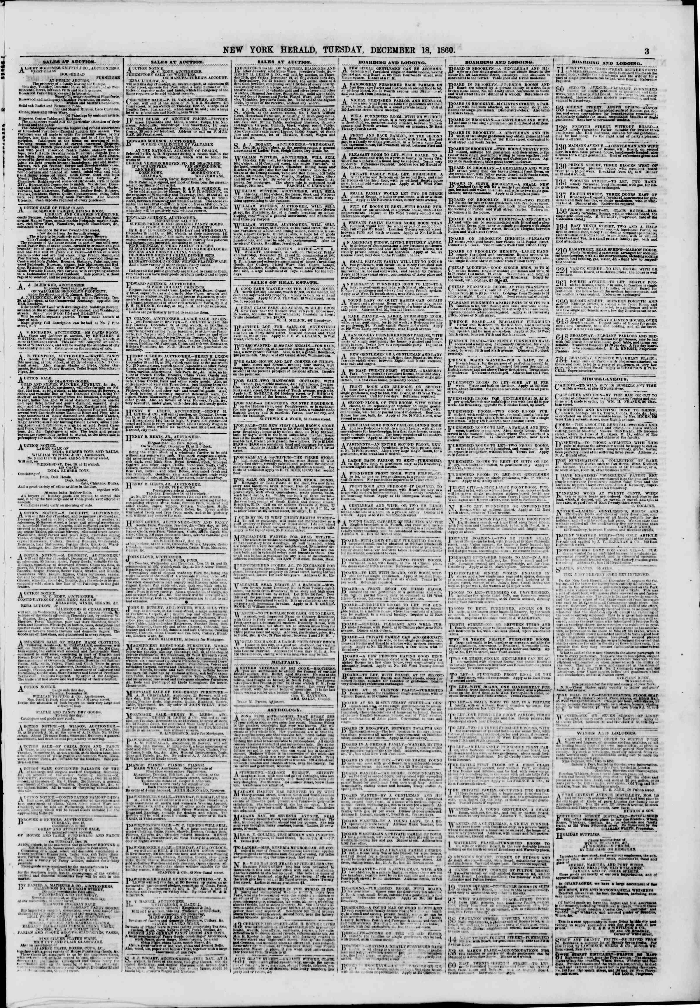 Newspaper of The New York Herald dated December 18, 1860 Page 3