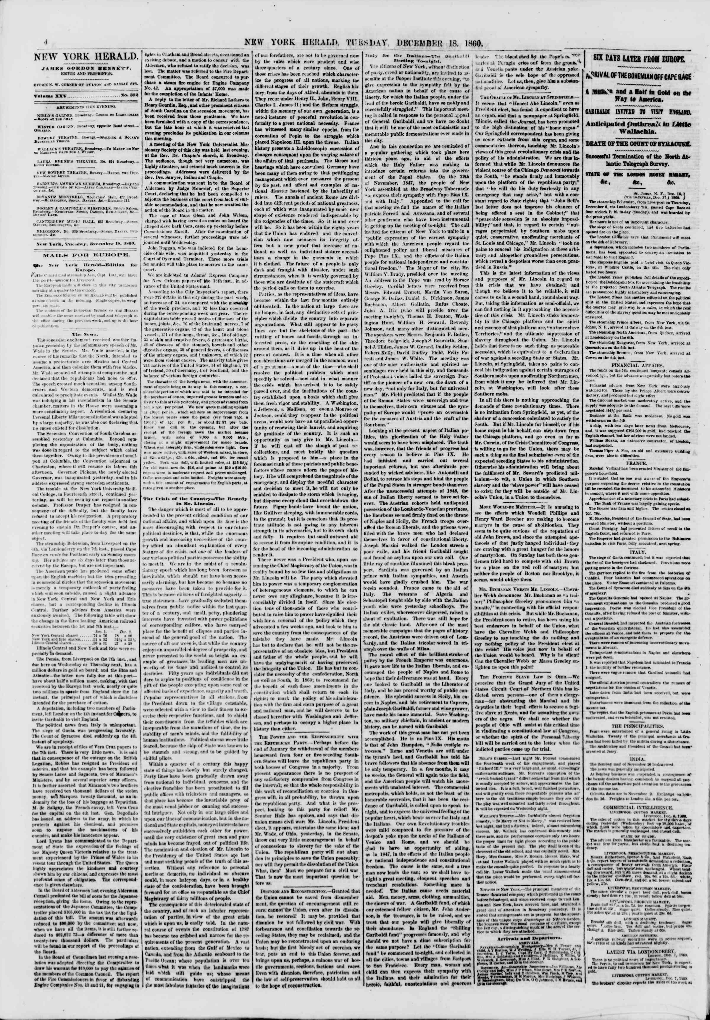 Newspaper of The New York Herald dated December 18, 1860 Page 4